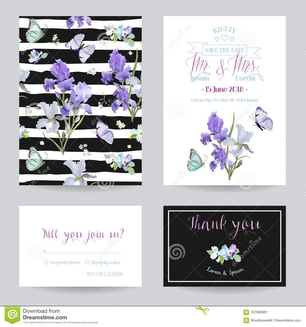 Save The Date Card With Iris Flowers And Butterflies. Floral Wedding ...