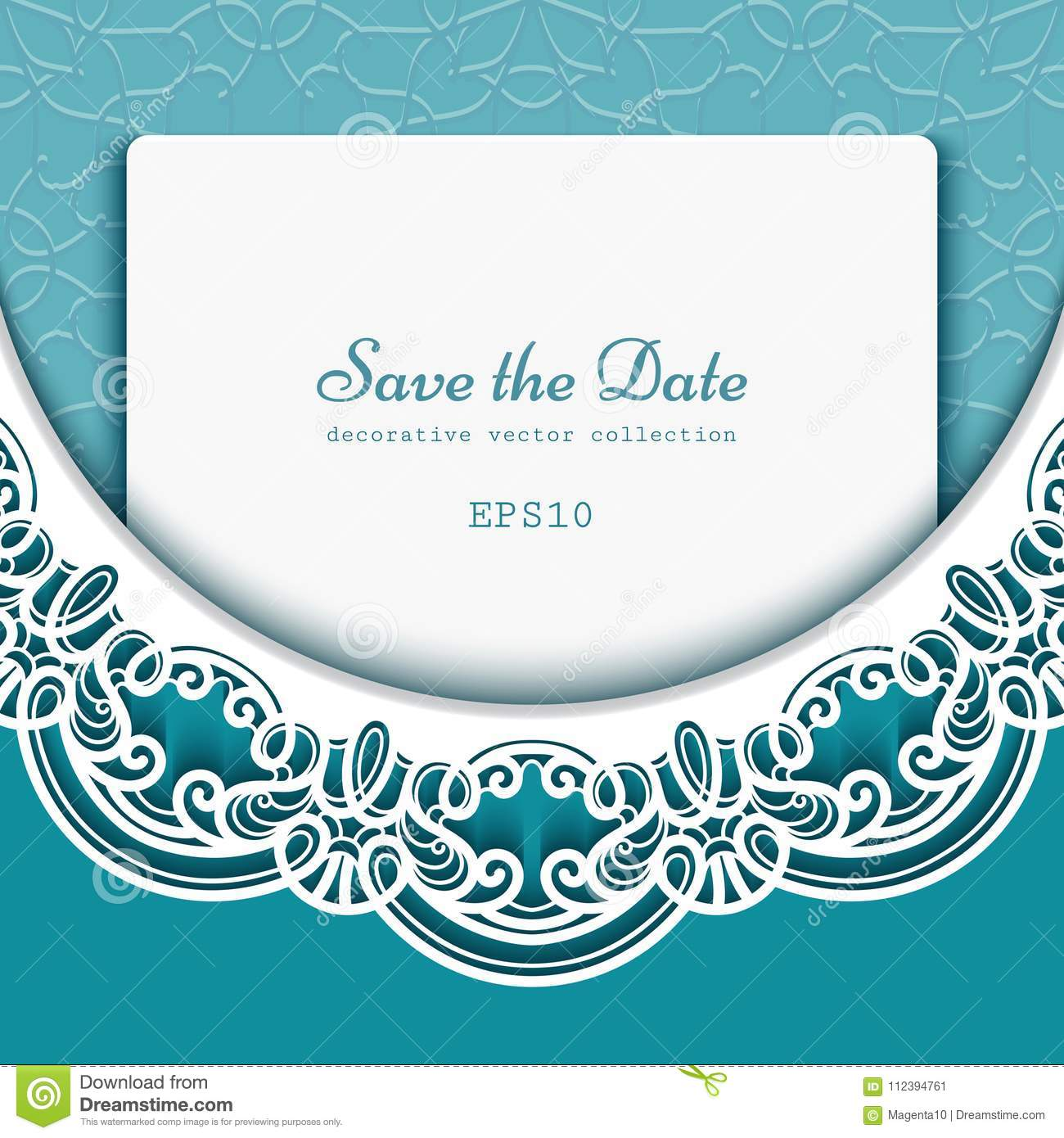 Save The Date Card With Lace Border Pattern Stock Vector