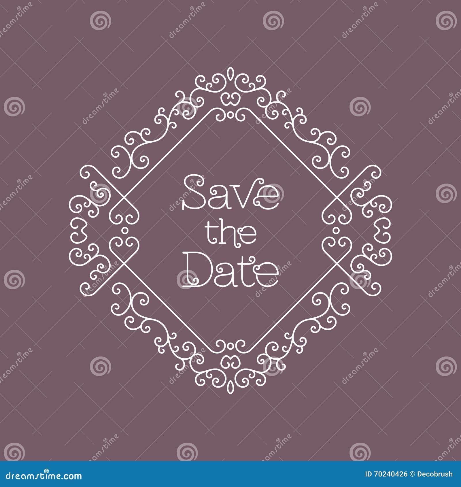 save the date card line art wedding design template stock vector