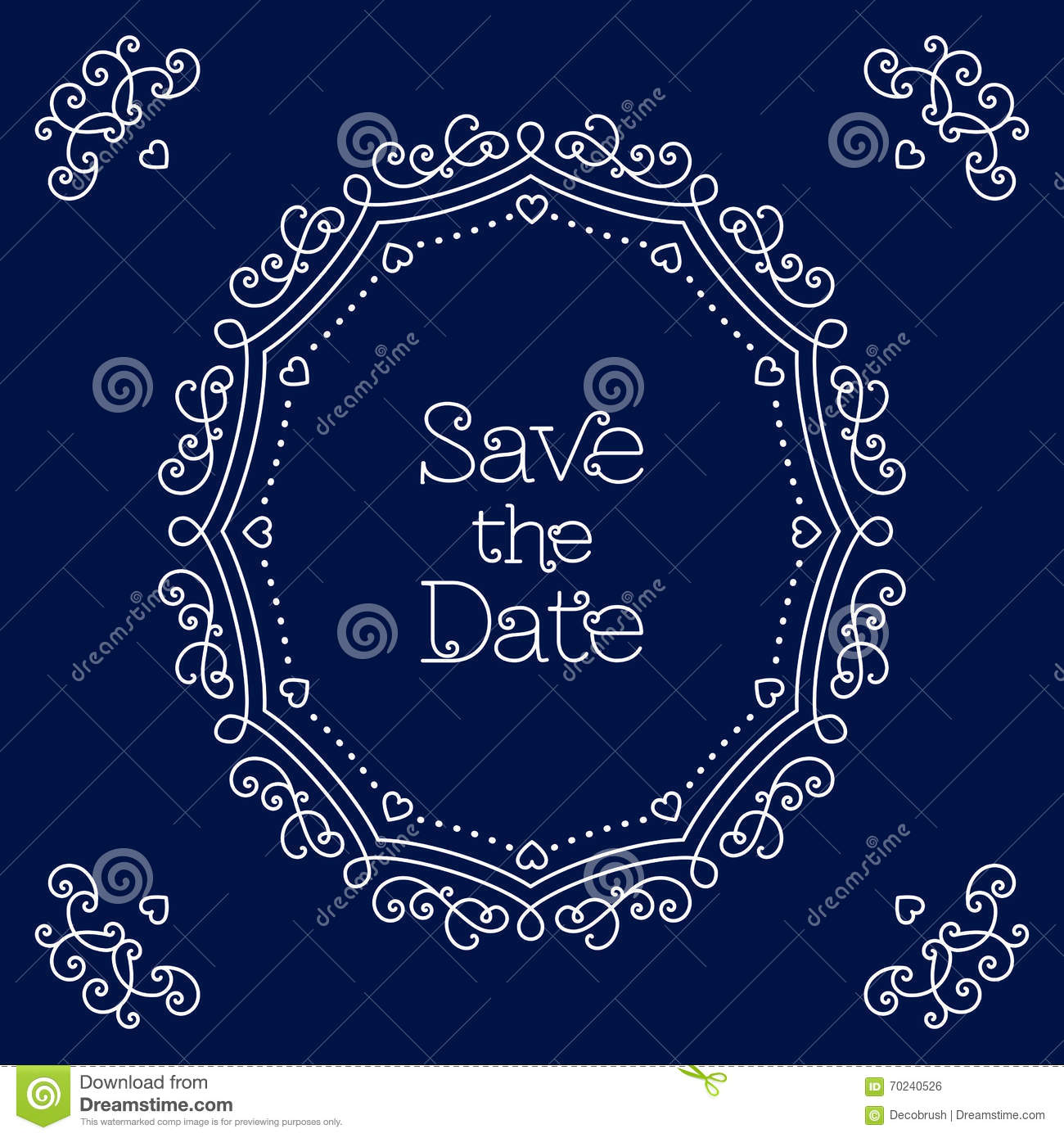 save the date card line art wedding design template