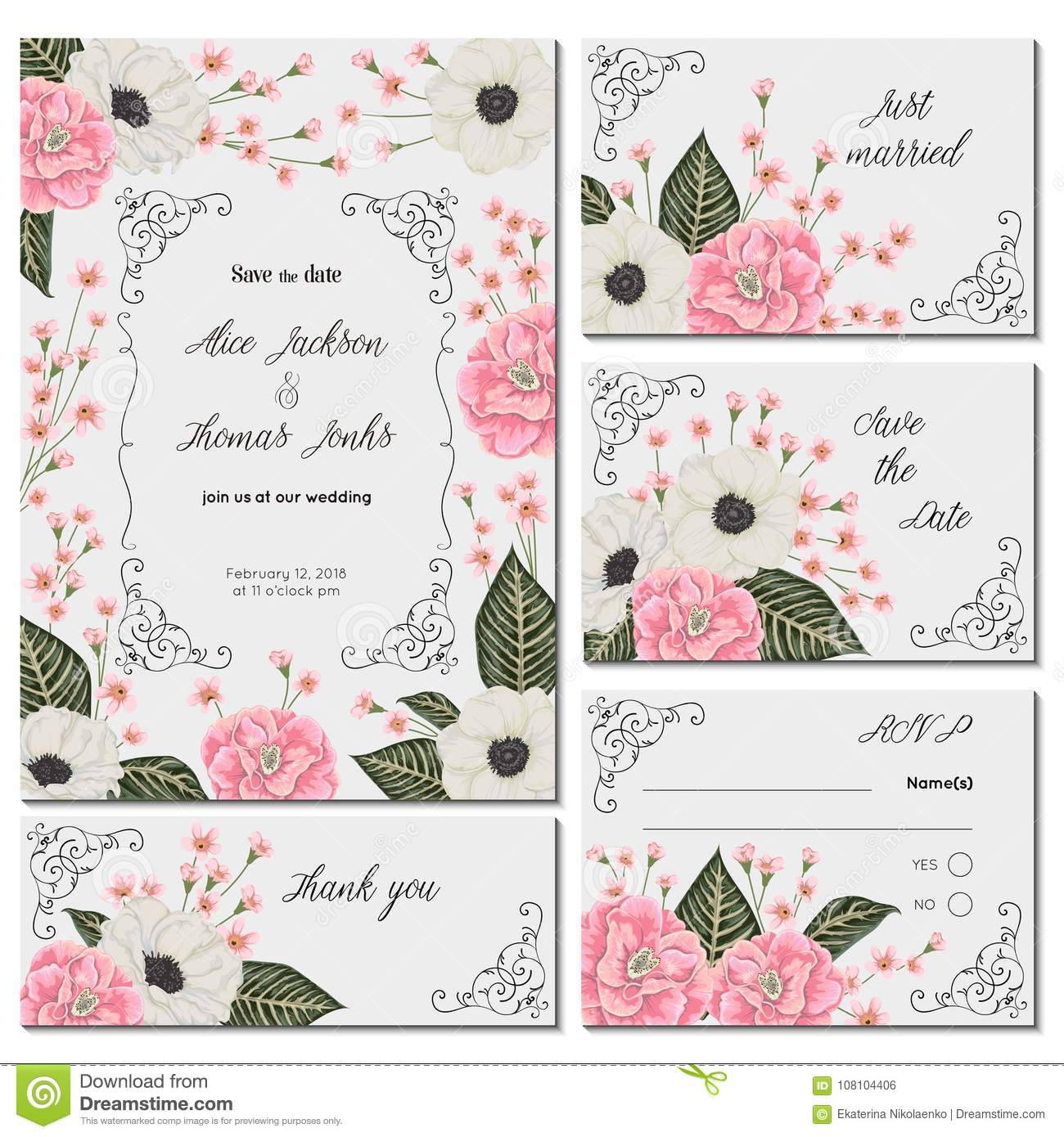 Save The Date Card With Pink Camellias White Anemone Flowers And