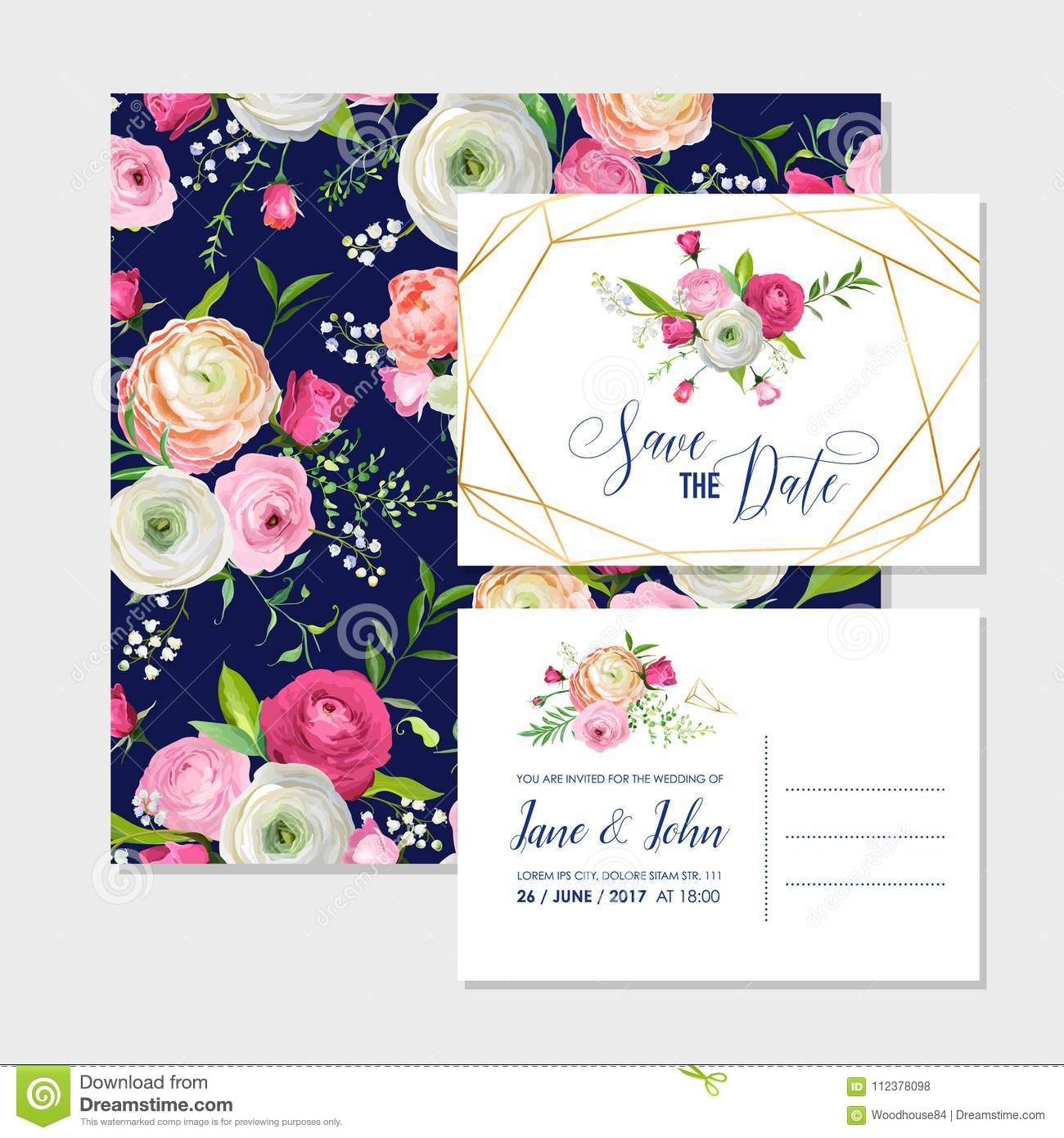 Save The Date Card Set With Blossom Pink Flowers And Golden