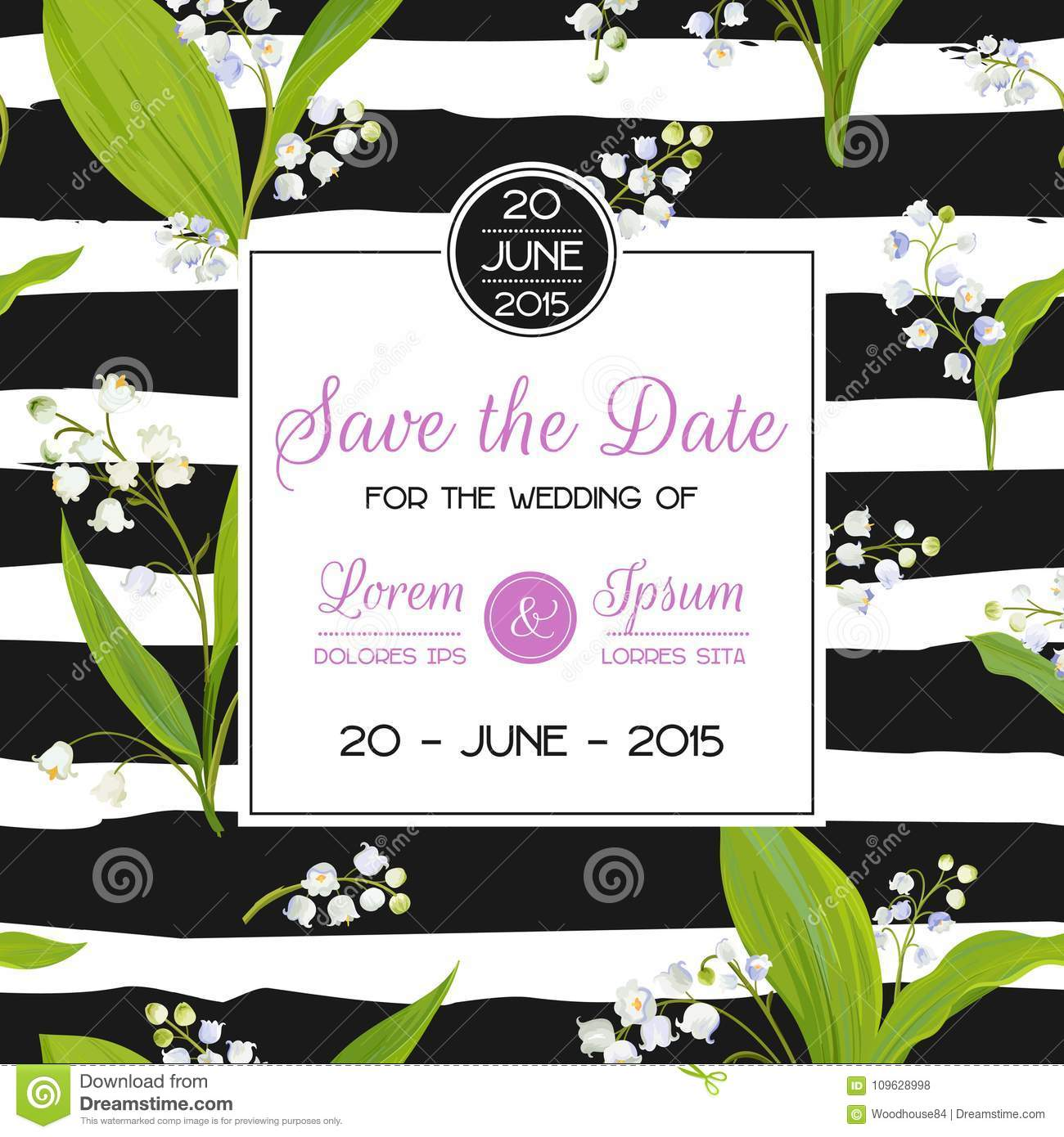 Save The Date Card With Spring Lily Of The Valley Flowers. Wedding ...