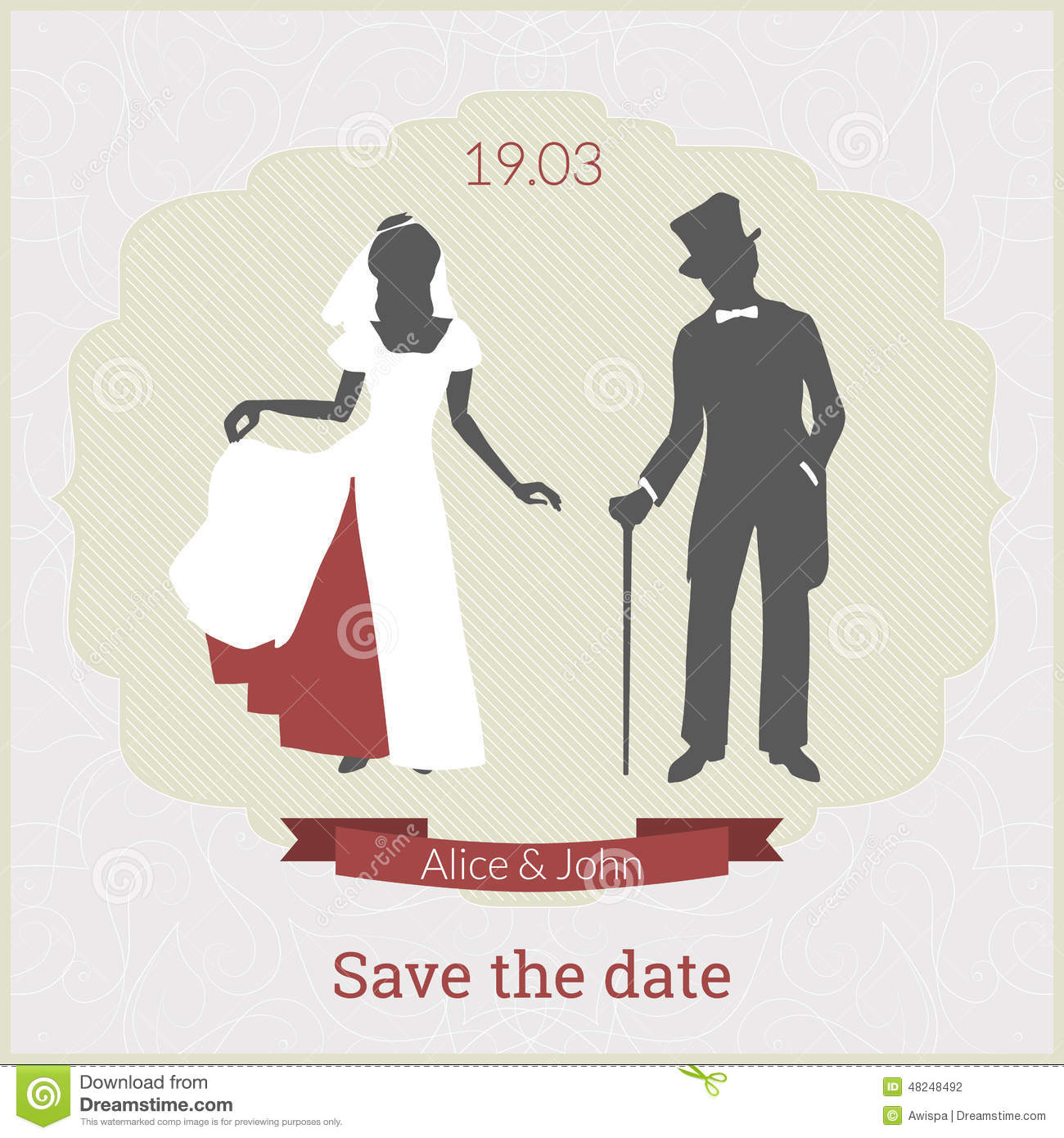 Save The Date Card Template With Bride And Groom Vector – Save the Date Card Template