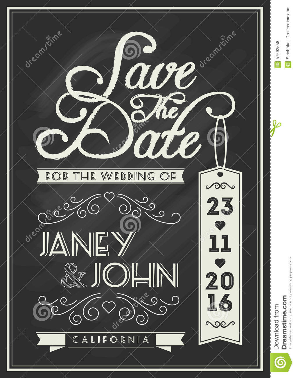 save the date card template design with typography stock vector