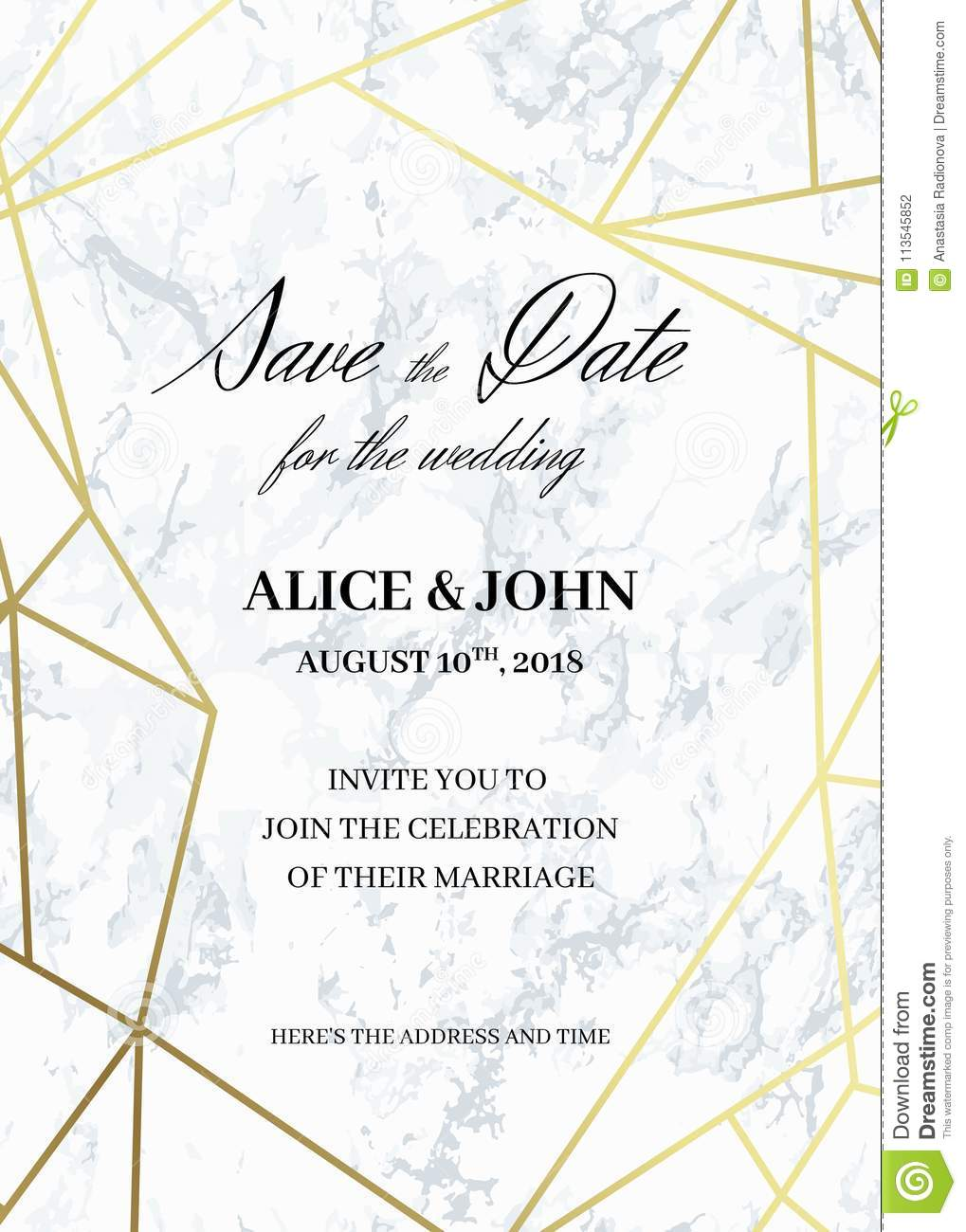 save the date card template of geometric design stock vector