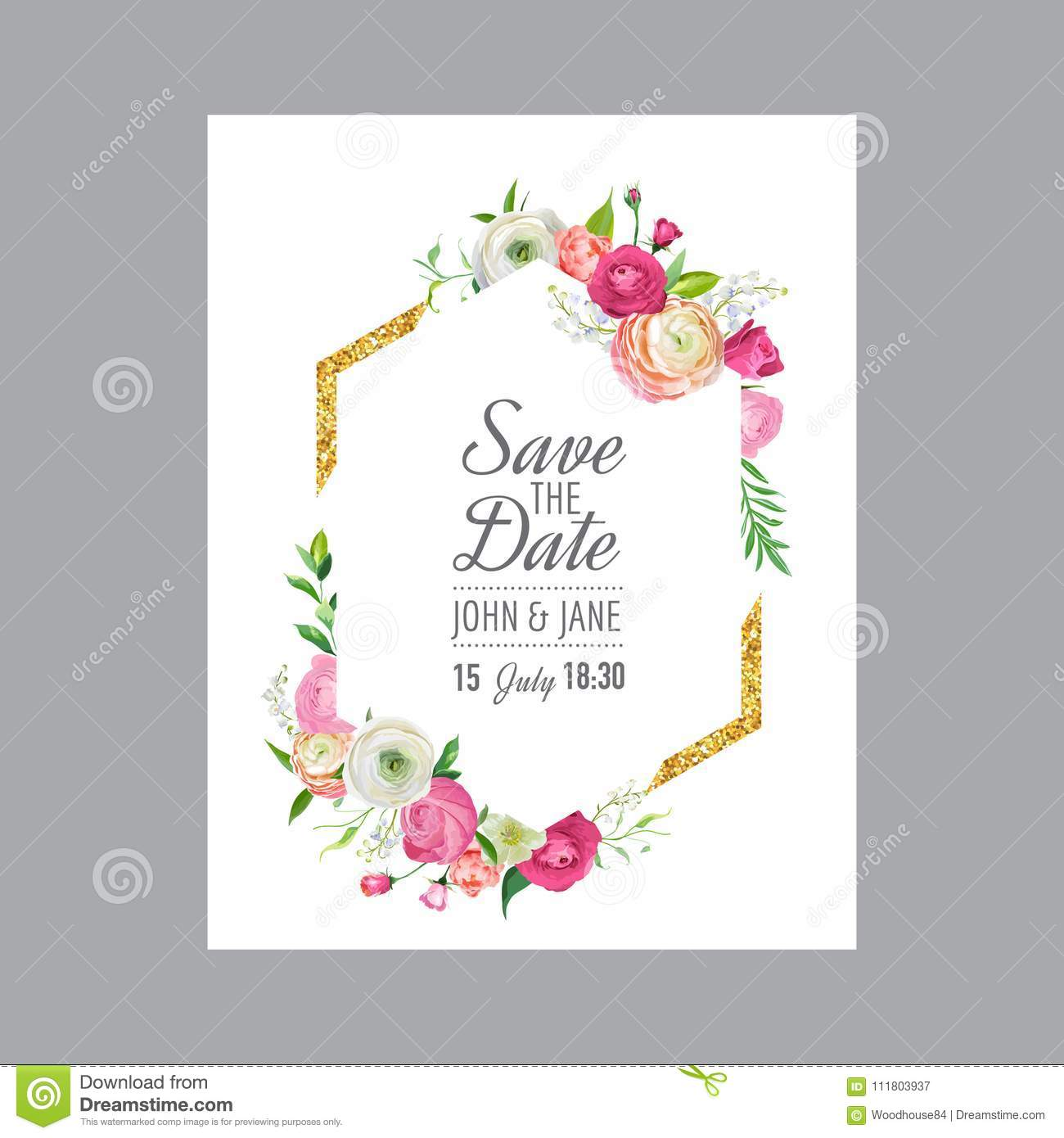 Save The Date Wedding Floral Ornament Wedding Floral: Save The Date Card Template With Gold Glitter Frame And