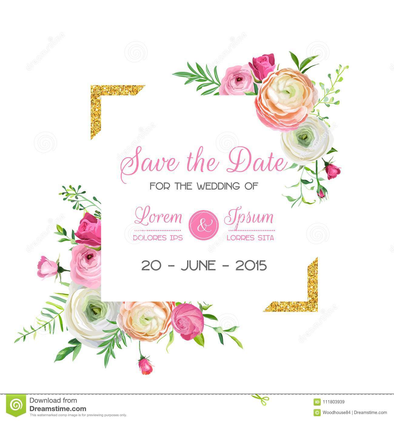 save the date card template with golden glitter frame and flowers wedding invitation greeting