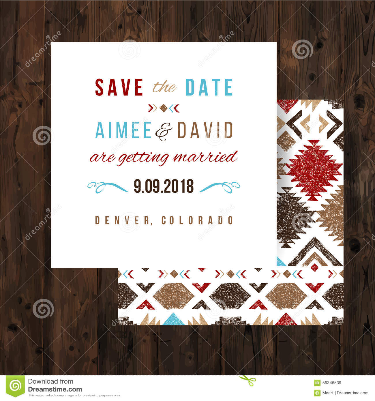save the date card with tribal ornaments stock vector illustration