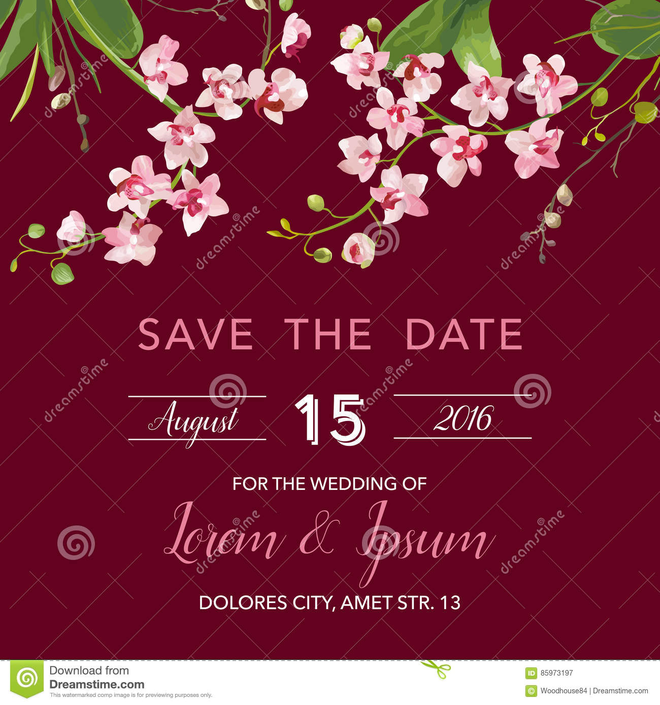 Save The Date Card. Tropical Orchid Flowers And Leaves Wedding ...