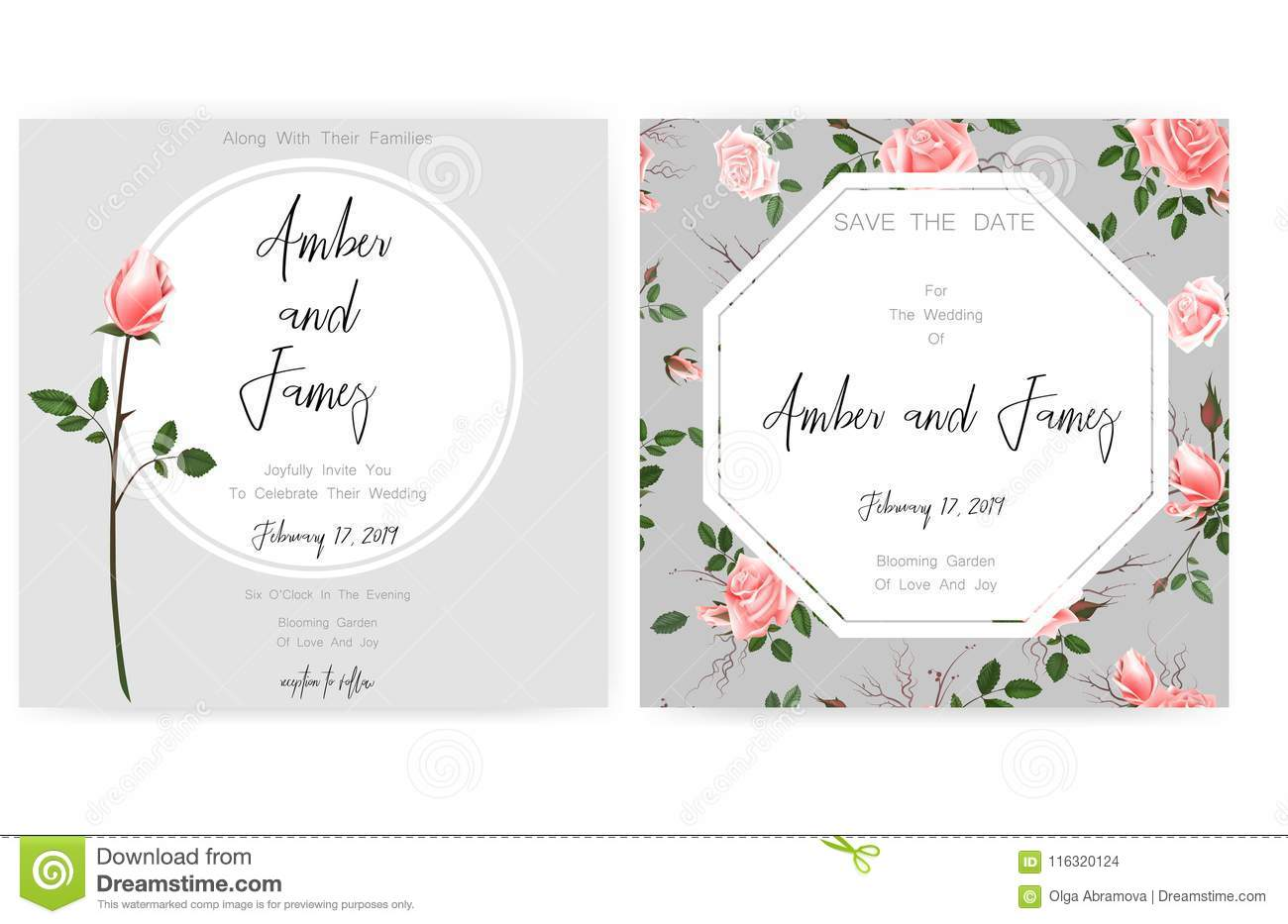 Save The Date Card Wedding Invitation Greeting Card With Beautiful