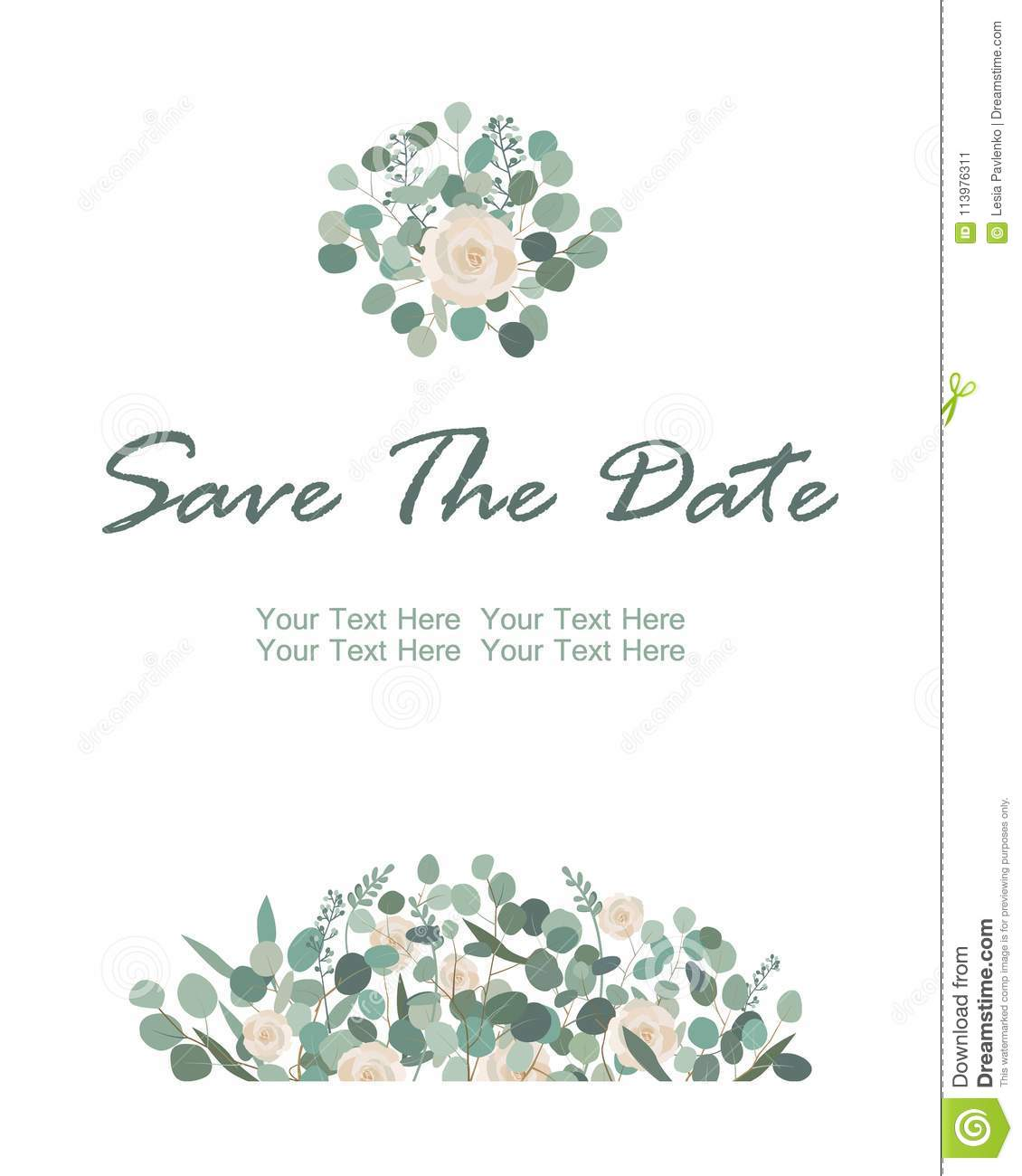 Save The Date Card With White Rose Flowers And Eucalyptus Frame - Save the date text template