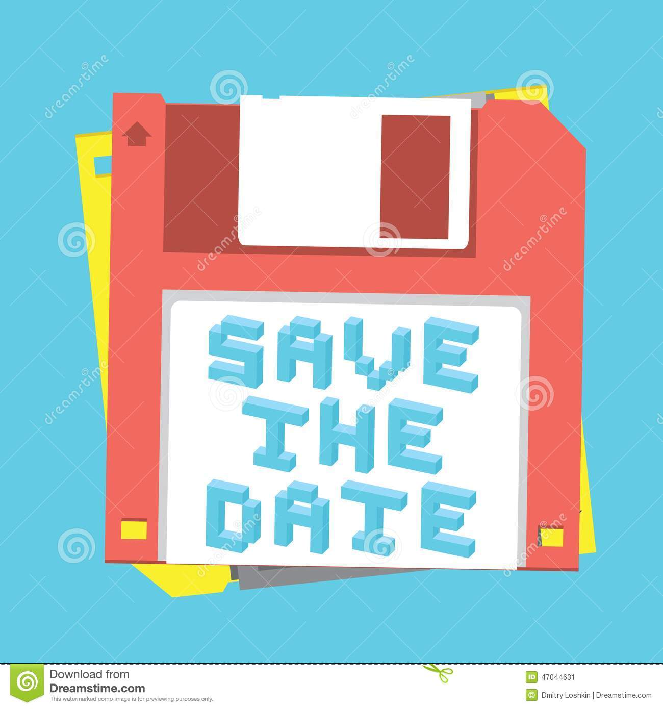 Save The Date Floppy Diskette Stock Vector - Illustration of design ...