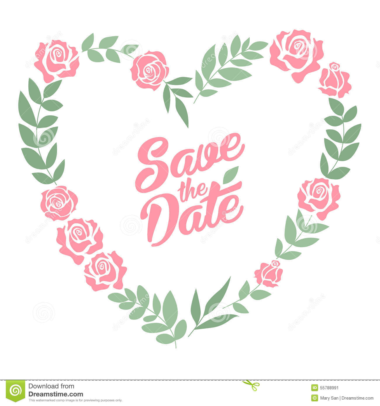 867916ef82162 Save The Date Floral Heart Card. Vintage Wedding Stock Vector ...