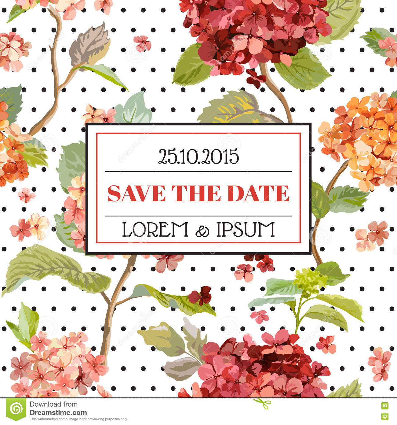 save the date floral hortensia autumn card vintage design stock