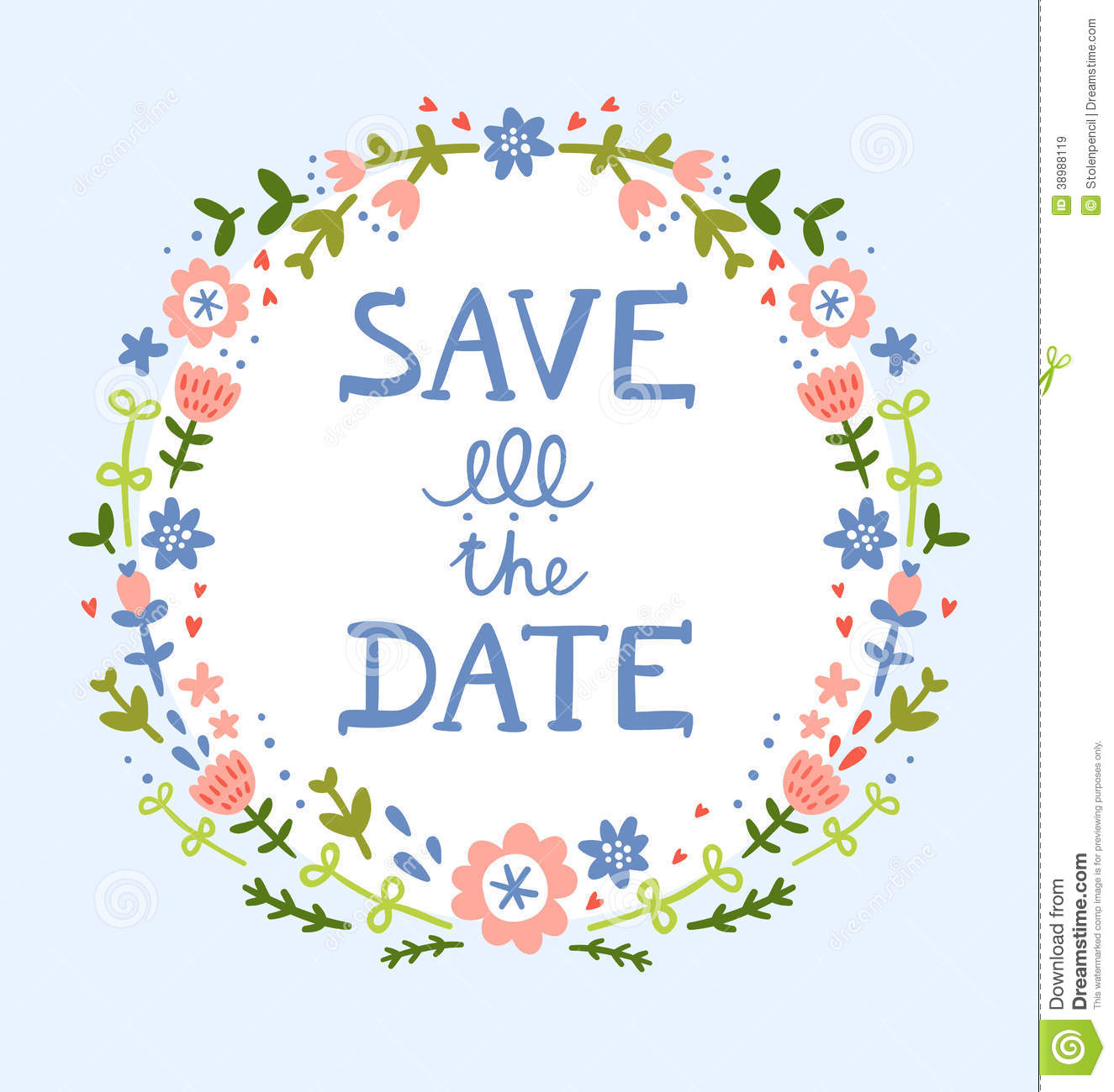 Save The Date Floral Wreath Stock Vector - Image: 38988119