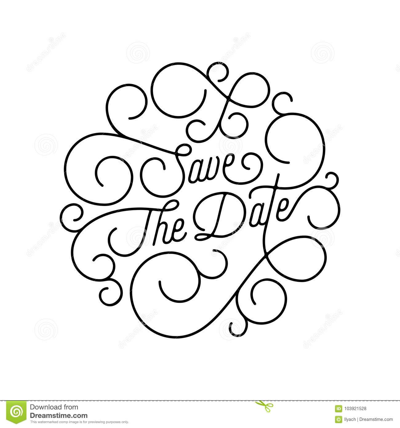 Save the date flourish calligraphy lettering of swash line download comp stopboris Image collections