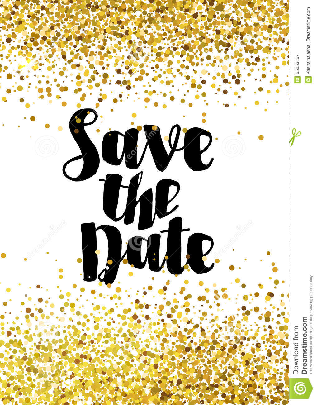 Save The Date Golden Glitter Wedding Invitation Template Stock ...