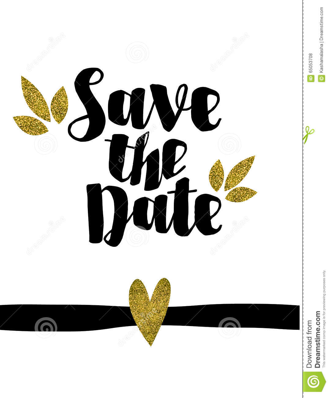 save the date golden glitter wedding invitation template stock