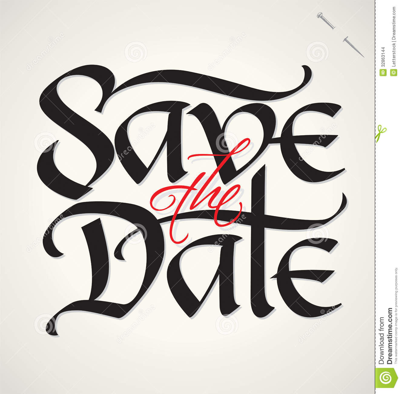 Save The Date Hand Lettering (vector) Stock Vector - Image: 32863144