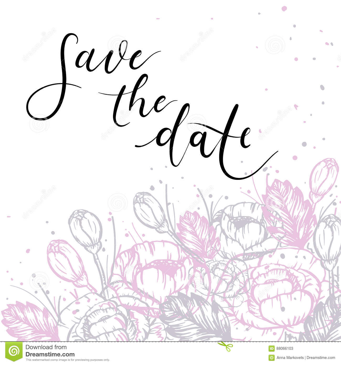 Save the date hand lettering inscription floral greeting