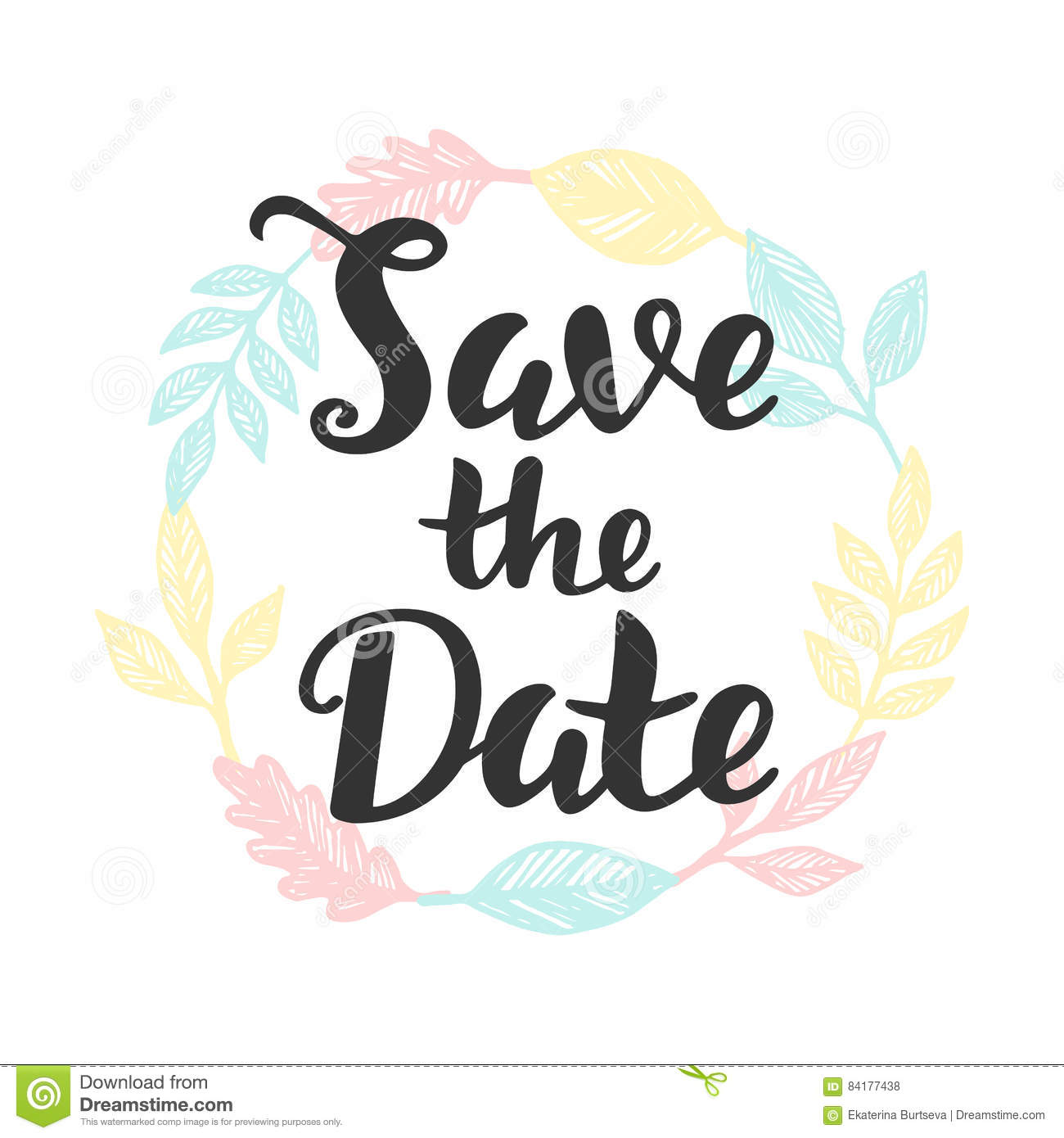 Save The Date Hand Lettering Stock Vector Illustration Of Party