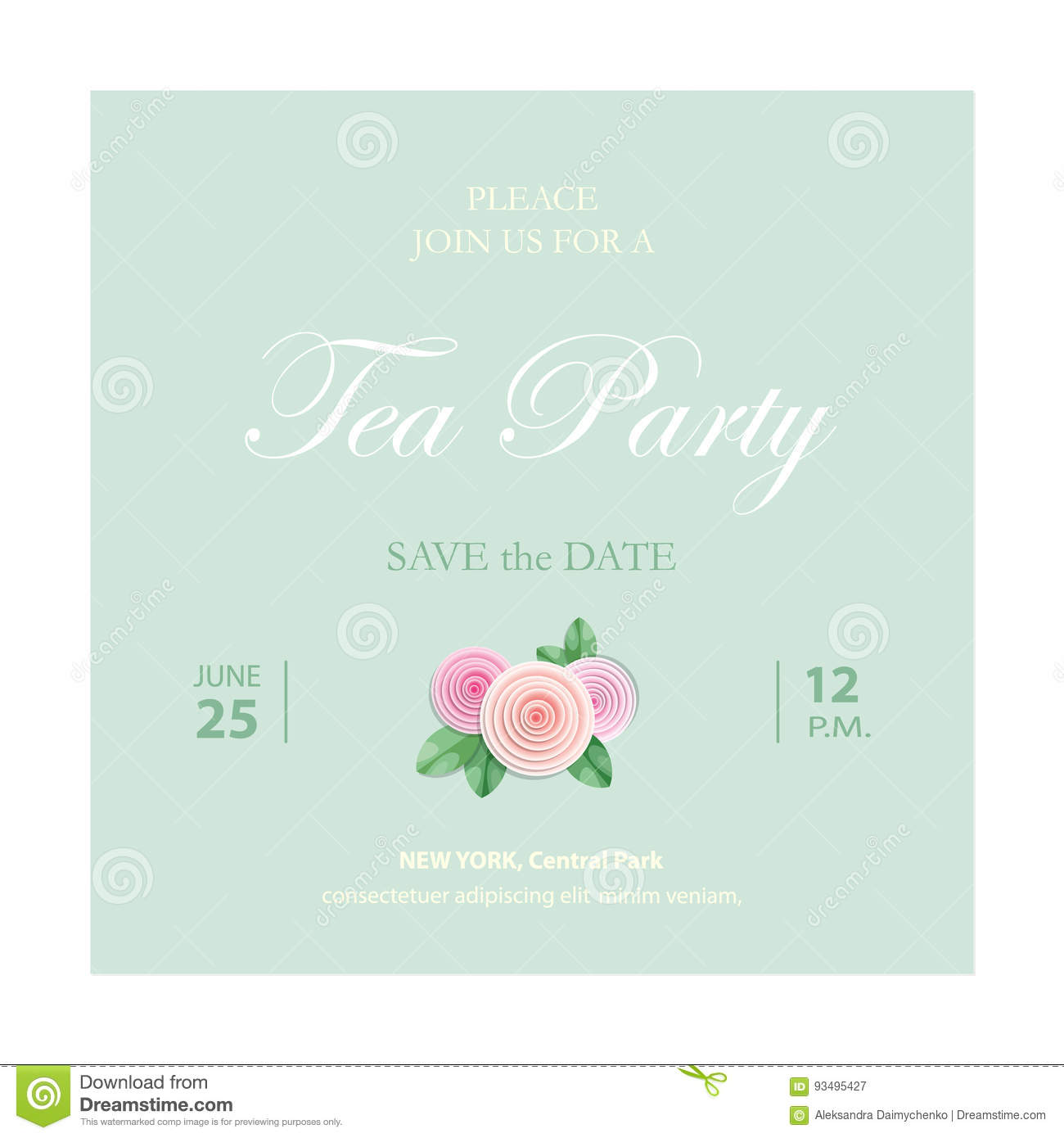 save the date invitation card wedding template with sample text