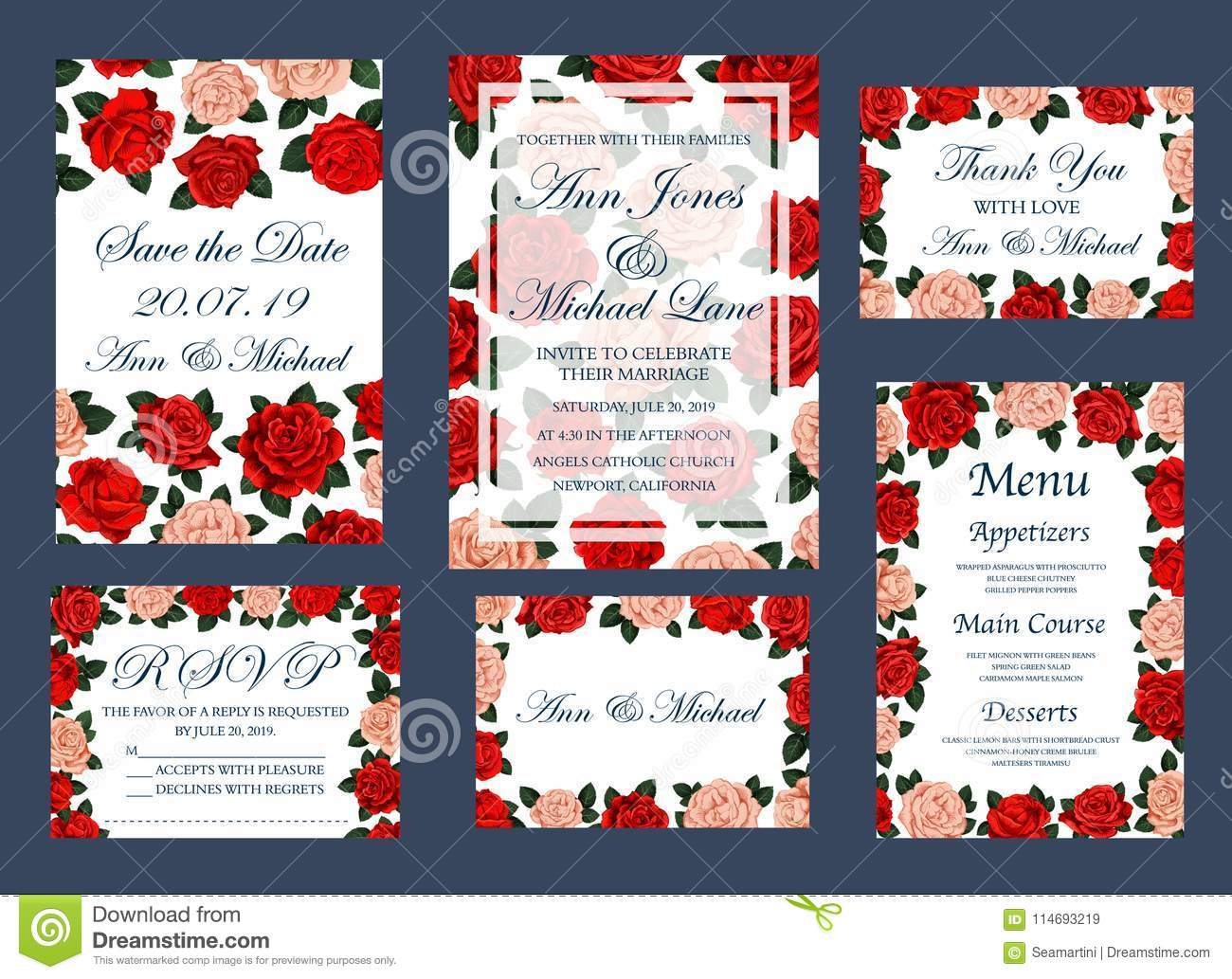 Save Date Wedding Vector Cards And Menu Stock Vector - Illustration ...