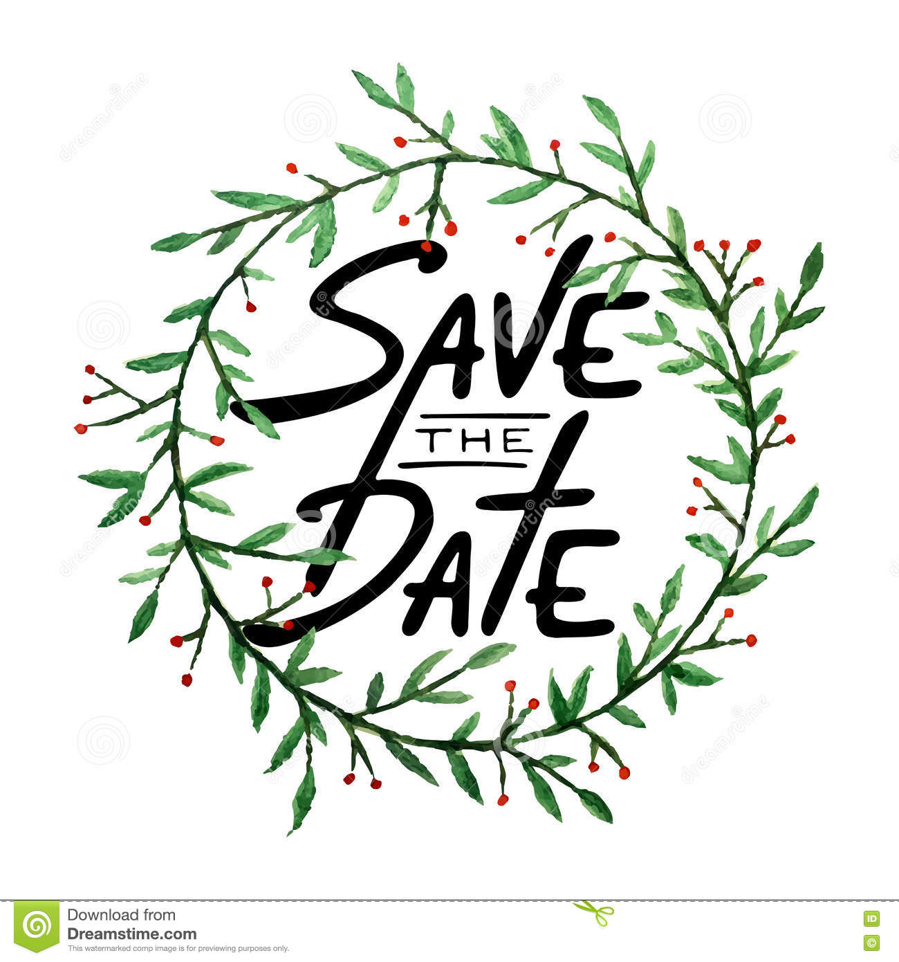 Christmas Save The Date Graphics.Save The Date Invite Greeting Card Vector Template Stock
