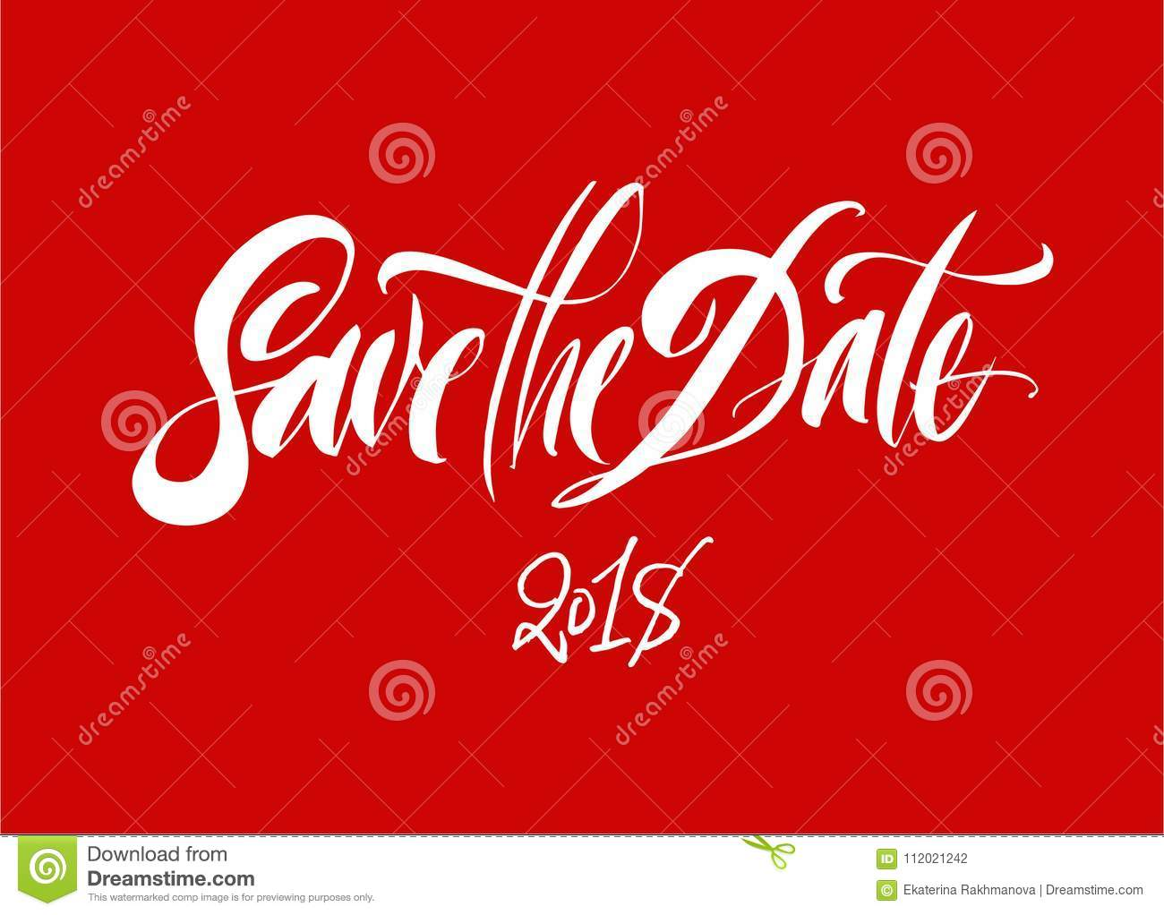 Save The Date Lettering Brush Pen Hand Drawn Calligraphy 2018
