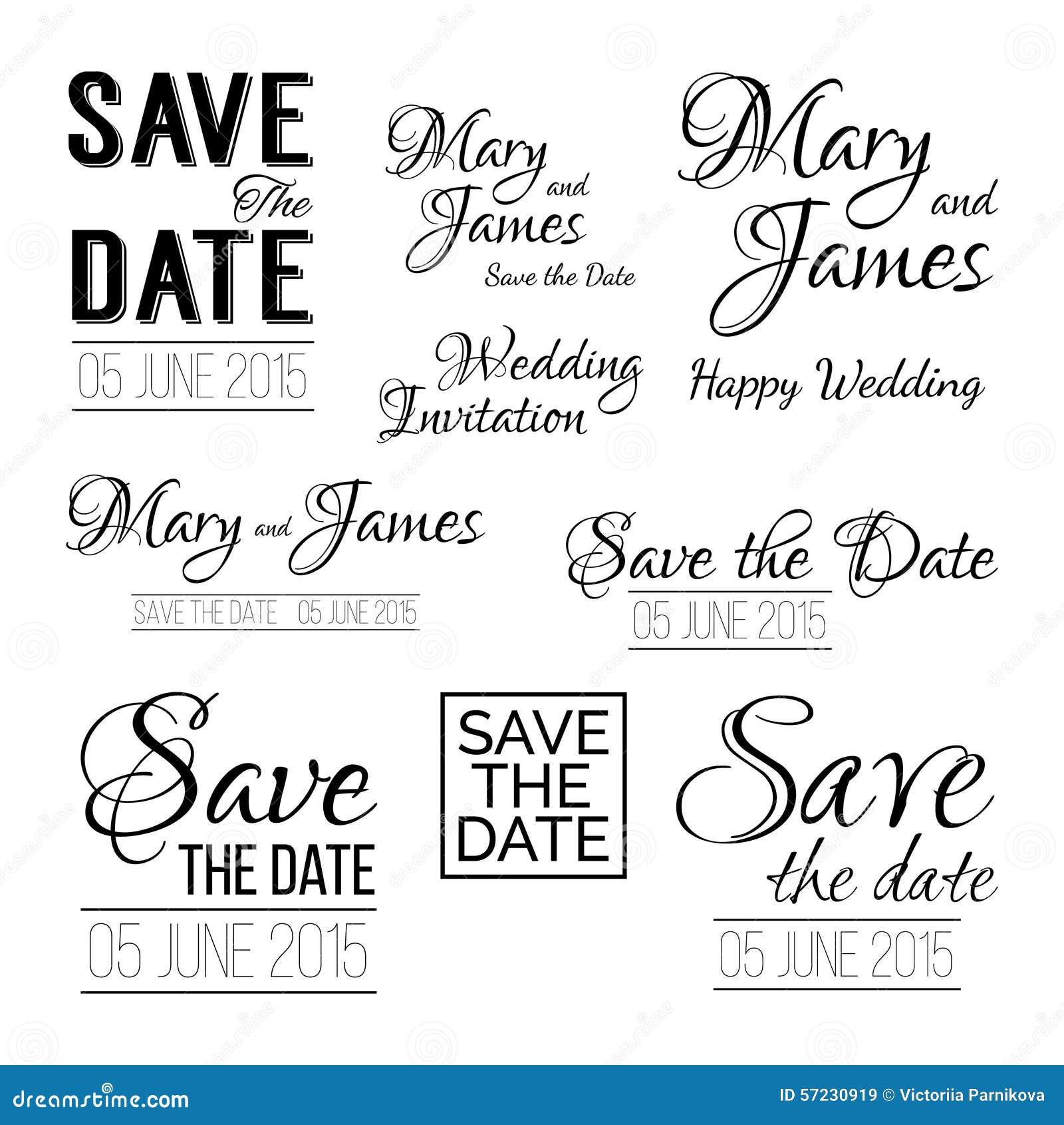 Save The Date Logos. Set Of Wedding Invitation Vintage