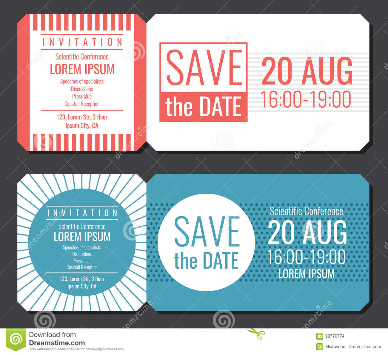 save the date minimalist invitation ticket vector design wedding