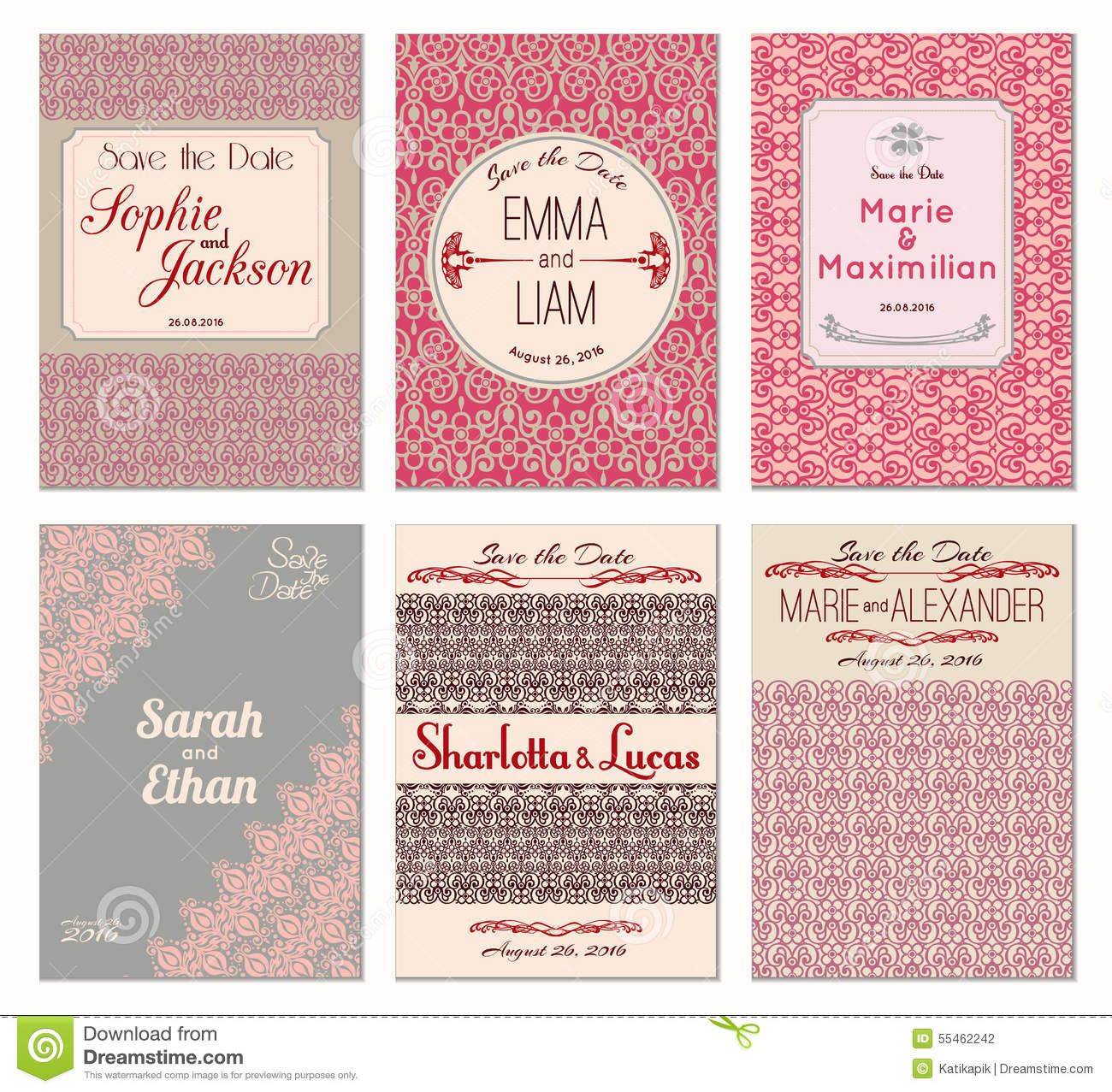 Edit Wedding Invitation Card: Save The Date Ornate Frame. Easy To Edit. Perfect For