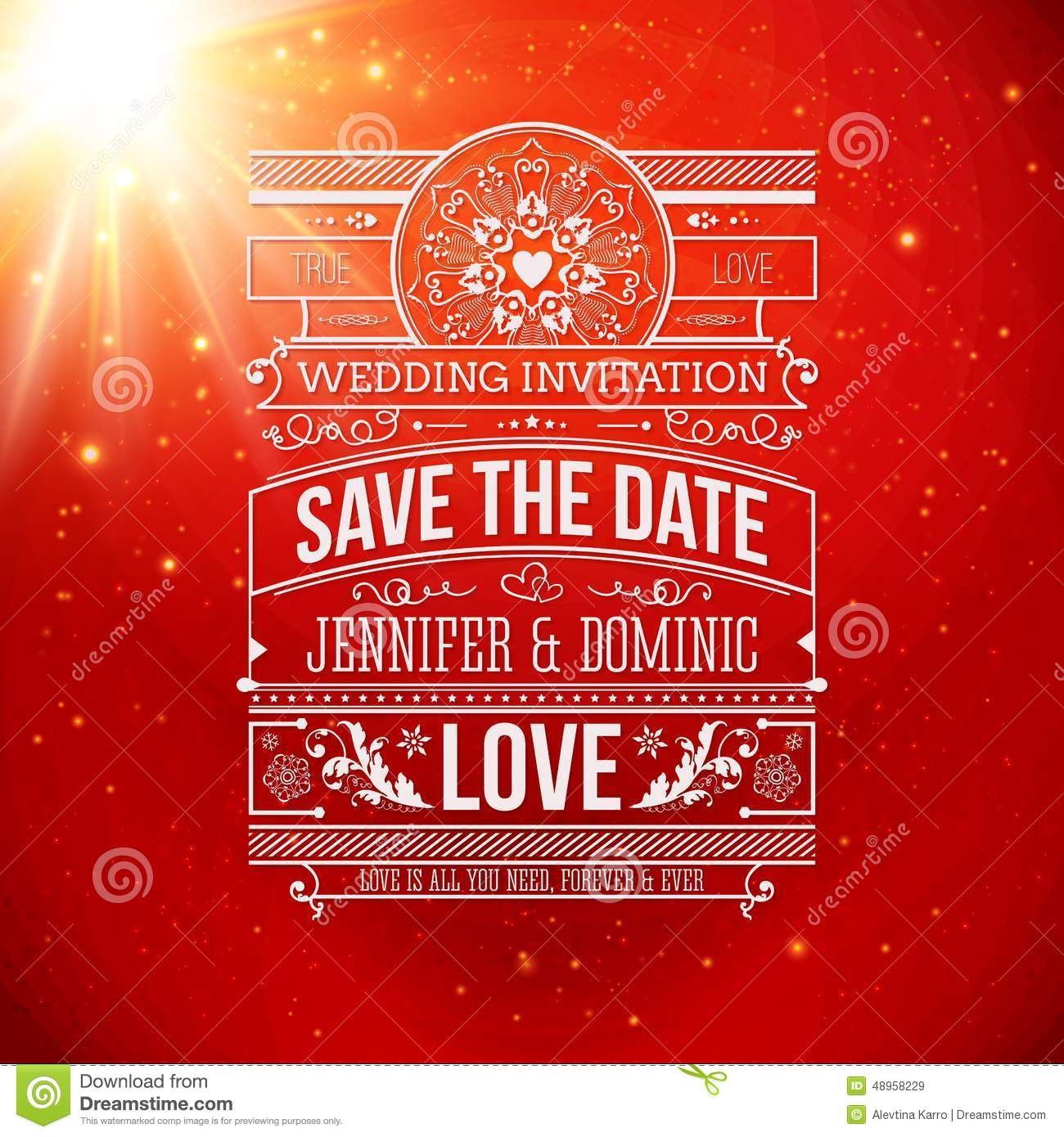 Save The Date For Personal Holiday. Wedding Stock Vector