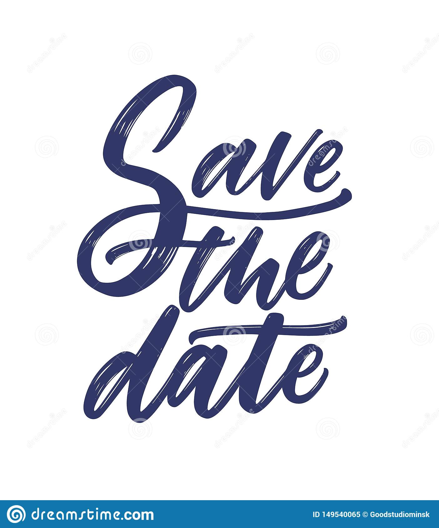 Save The Date Phrase Or Message Written With Fancy Cursive