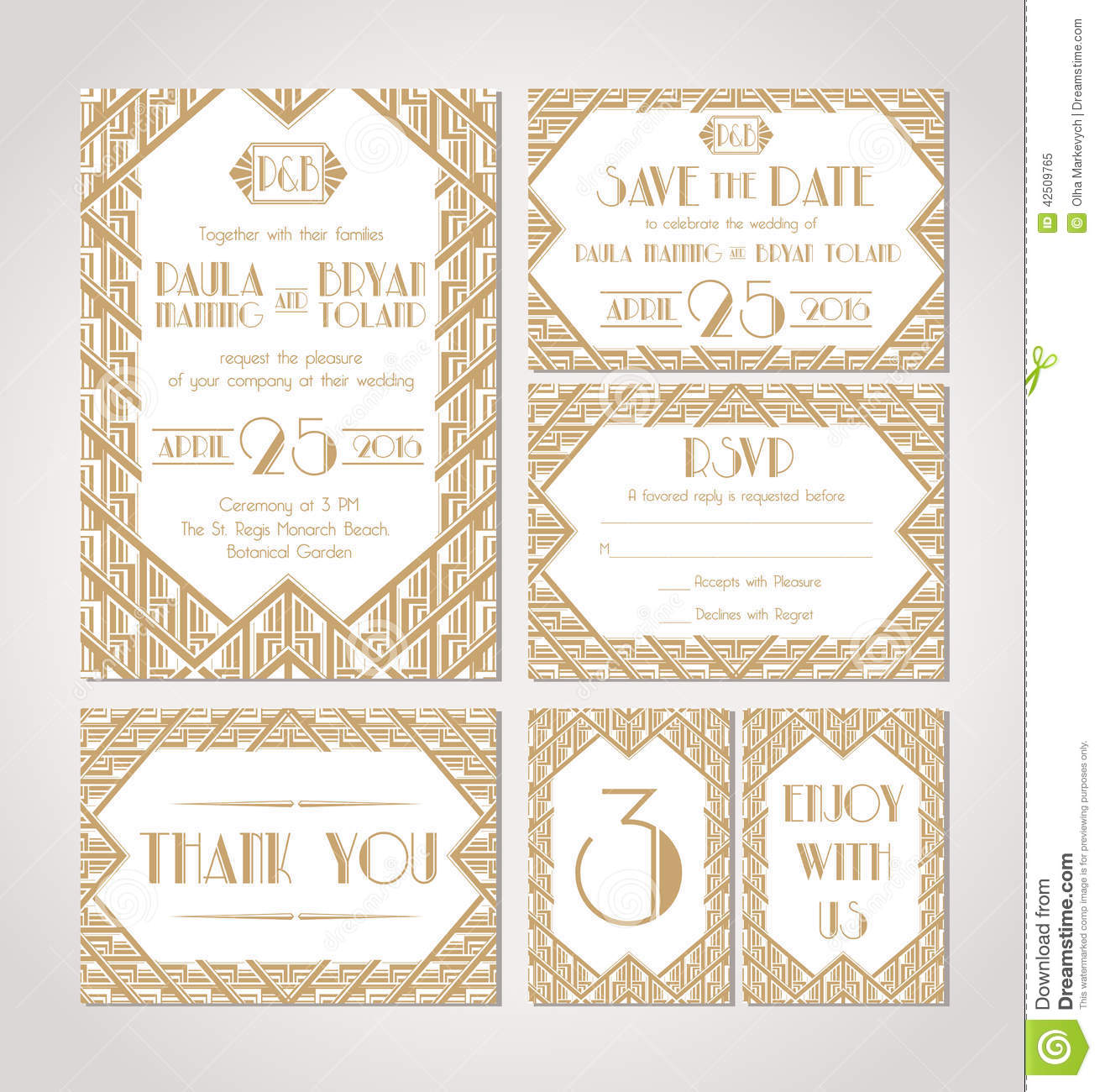 Art Date Deco Invitation Save Wedding ...
