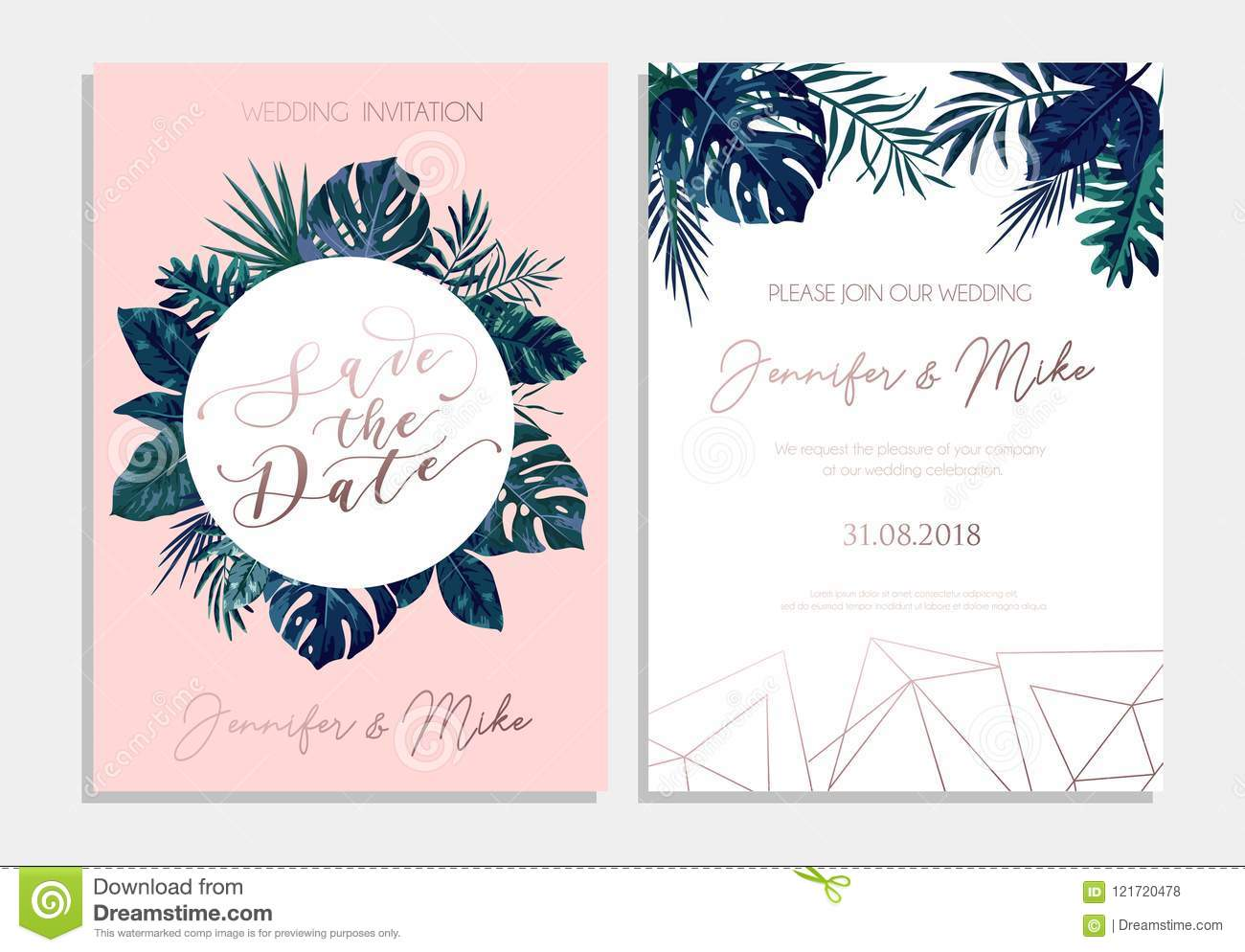 Save The Date Tropical Invitation Design Modern Wedding