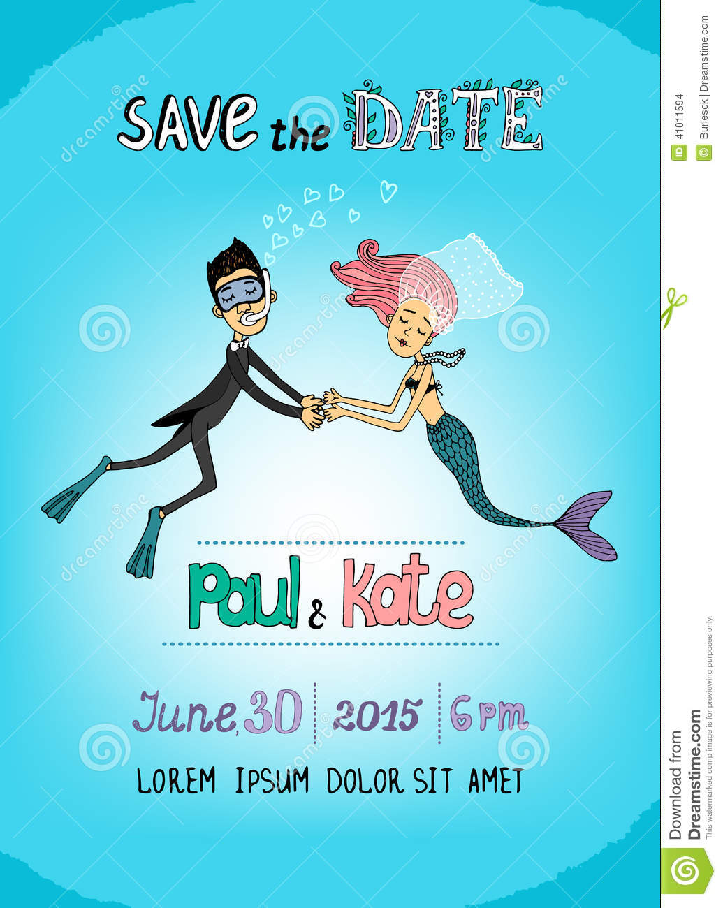 Save The Date Underwater Themed Card Stock Vector Illustration Of