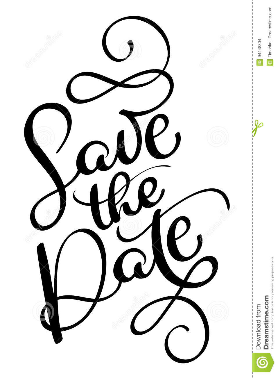 save the date vector vintage text calligraphy lettering