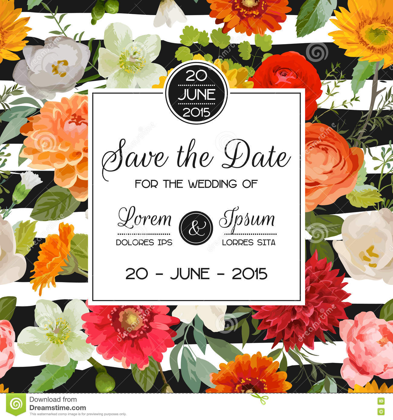 save the date wedding card summer and autumn flowers stock vector