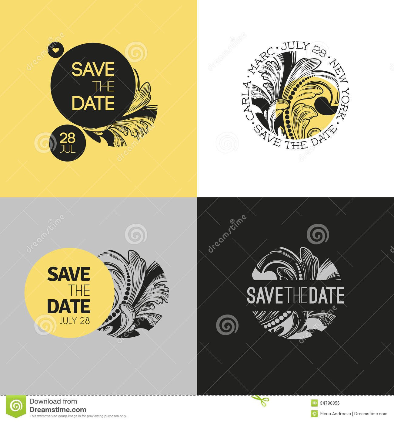 Save the date wedding graphic set in baroque style vector stock vector image 34790856 for Save the date vector