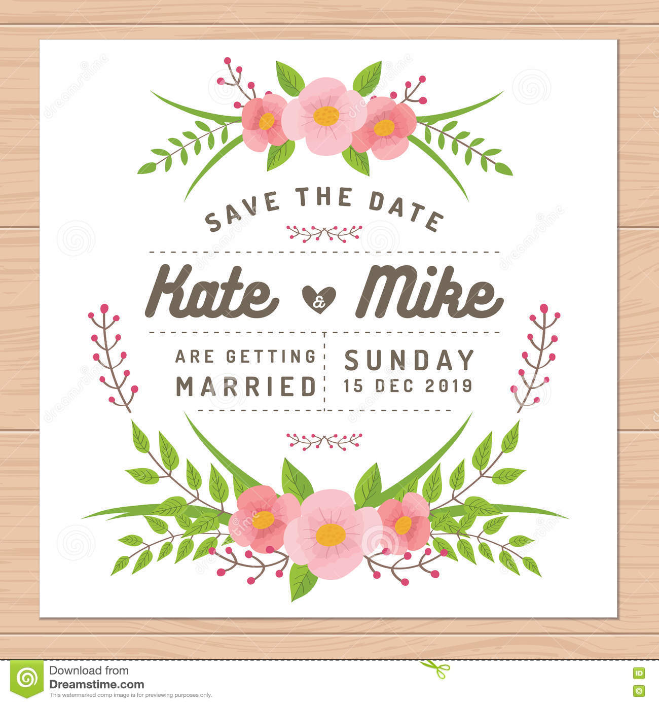 save the date wedding invitation card with flower templates flower