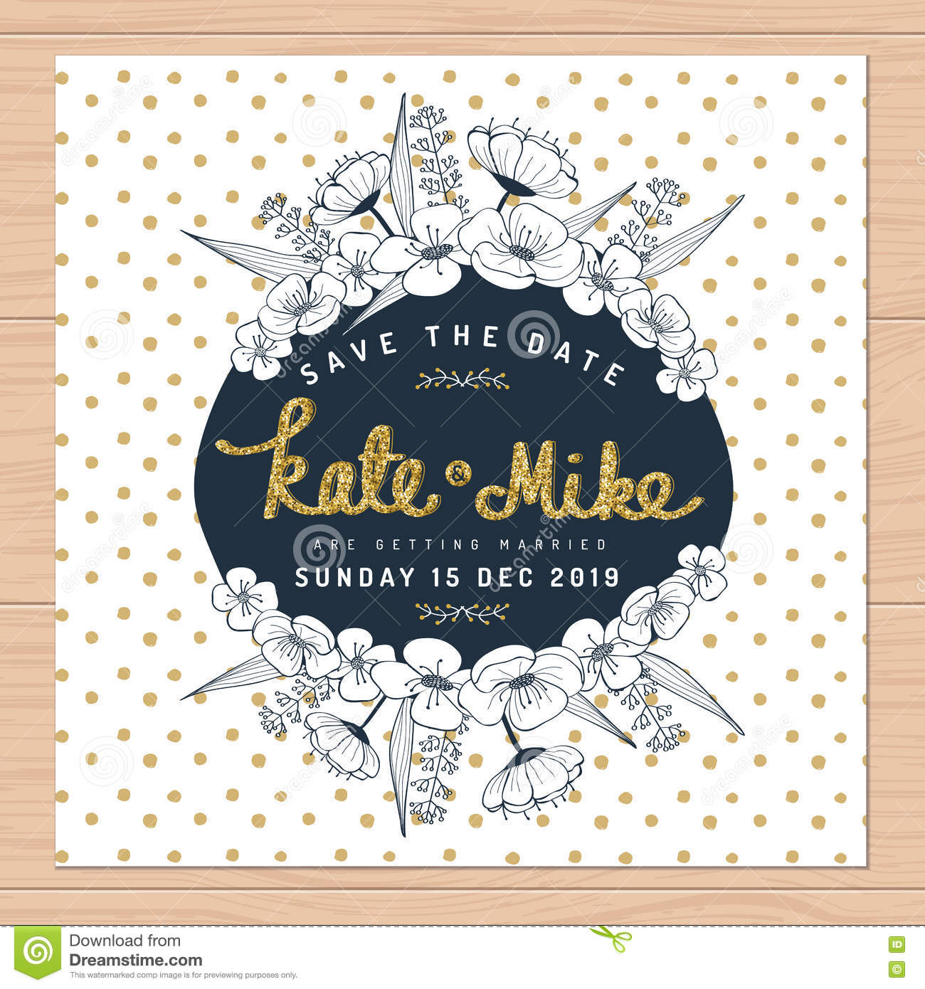 Golden Save The Date For Wedding Invitation Wedding: Save The Date, Wedding Invitation Card With Hand Drawn