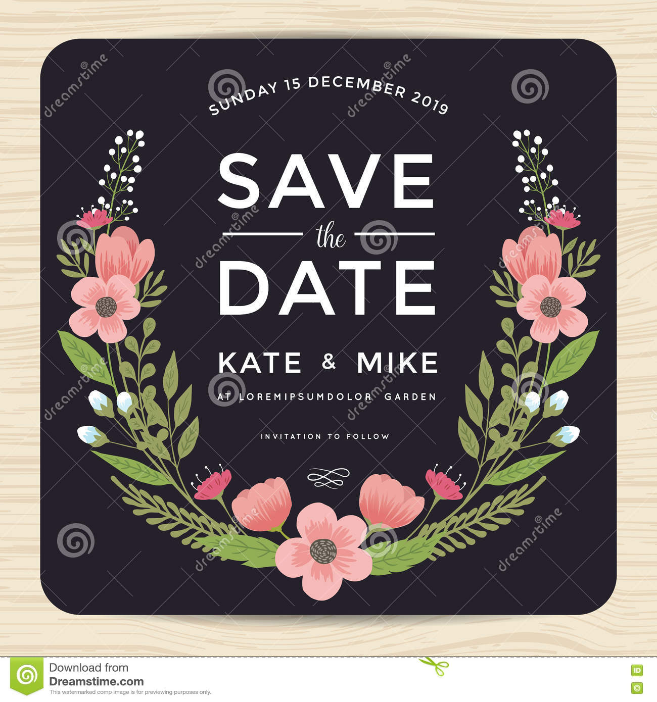 Save The Date Wedding Invitation Card With Hand Drawn Wreath Flower