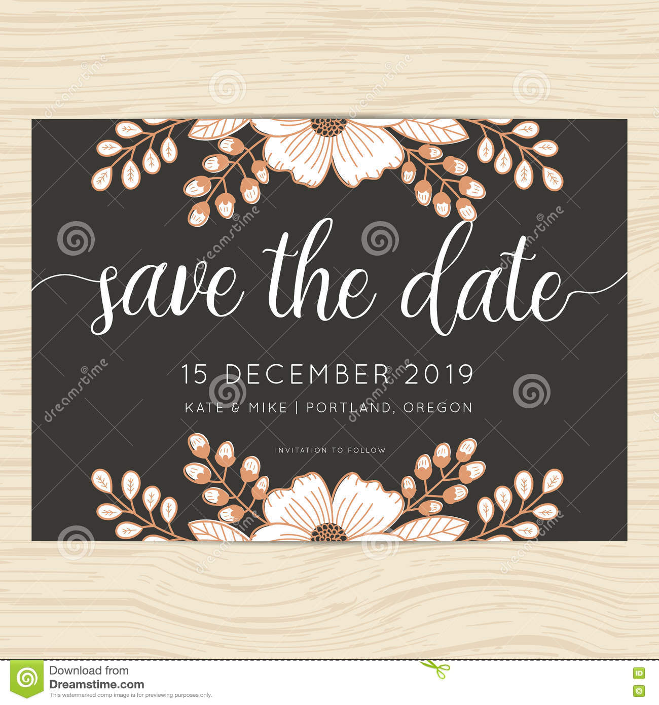 Save The Date Wedding Invitation Card Template With Flower Floral