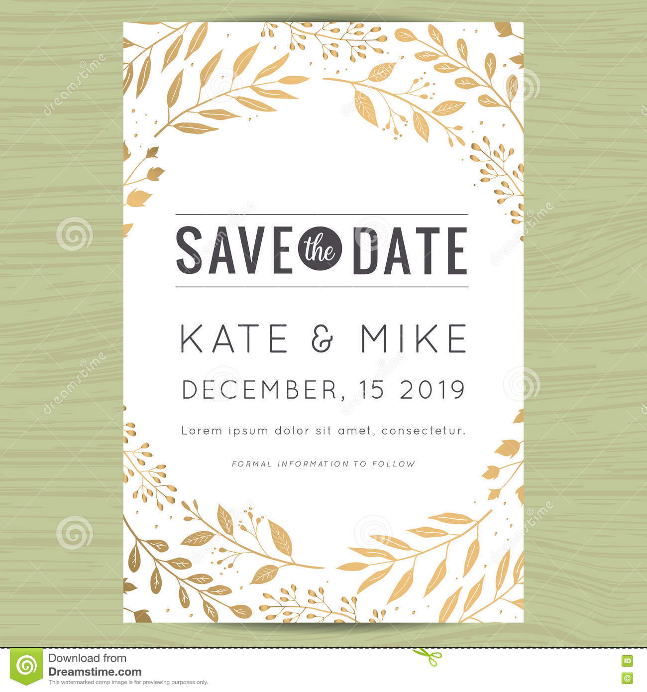 floral save the date wedding invitation template cartoon vector 55588189. Black Bedroom Furniture Sets. Home Design Ideas