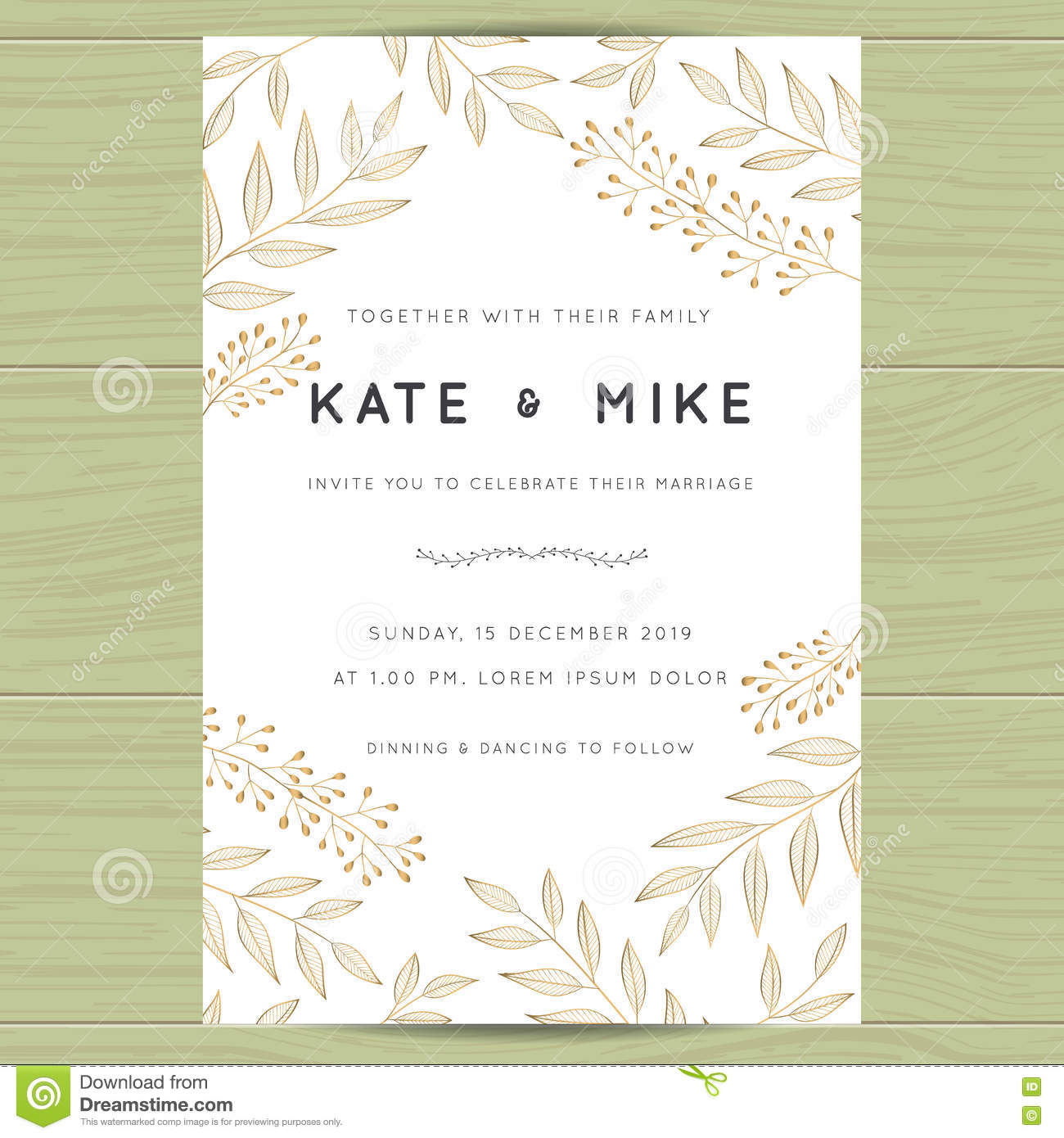 save the date wedding invitation card template with golden flower
