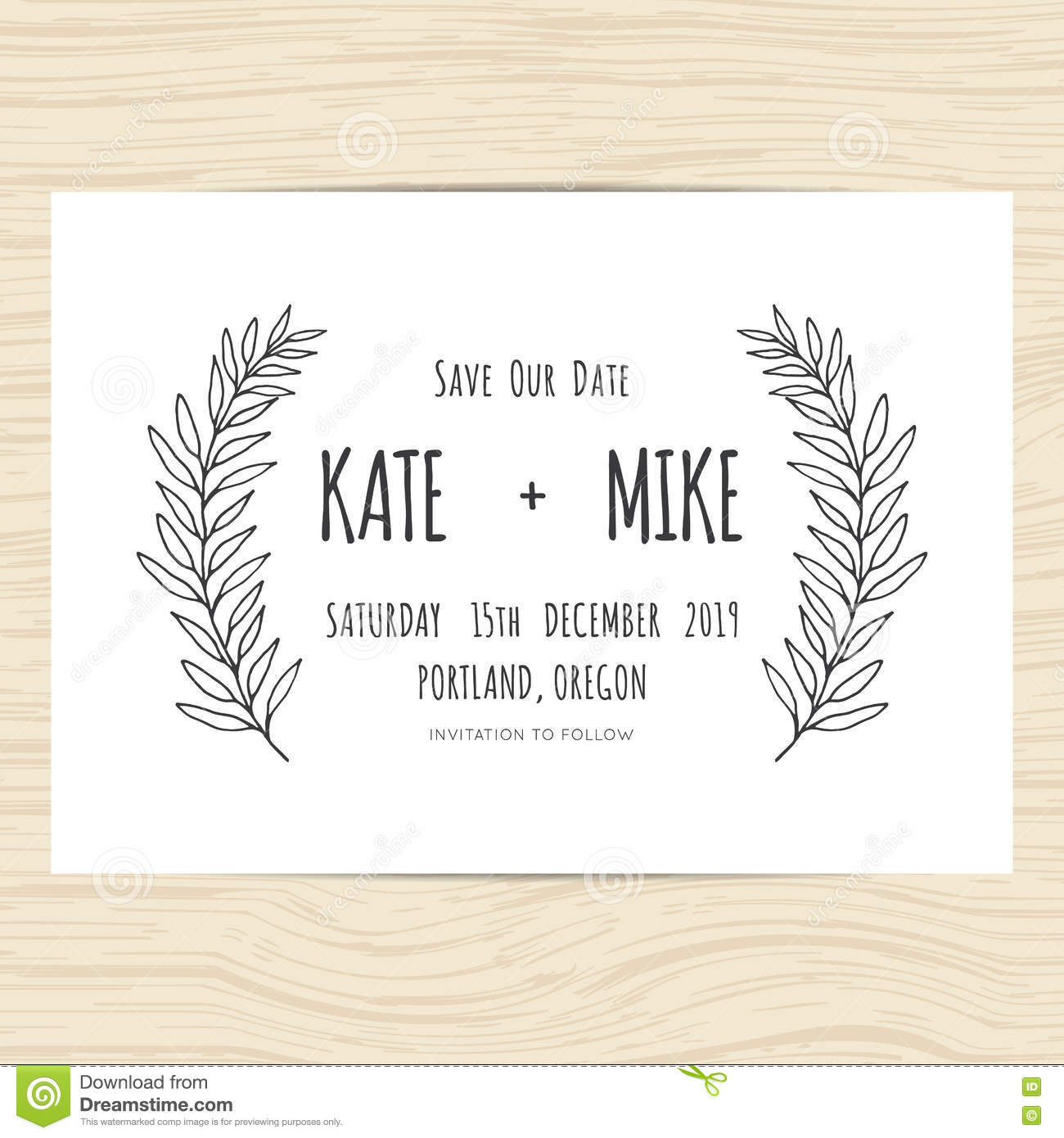 vintage wedding save date card with leaves wreath stock vector