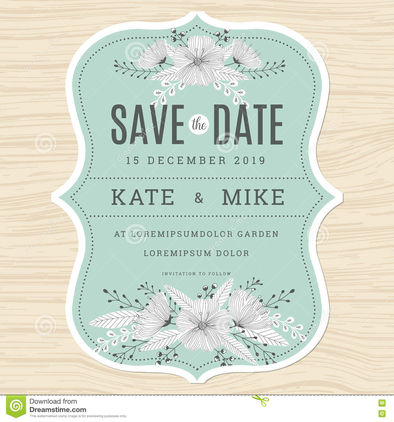 Save The Date, Wedding Invitation Card Template With Hand Drawn Flower  Floral Background In Green
