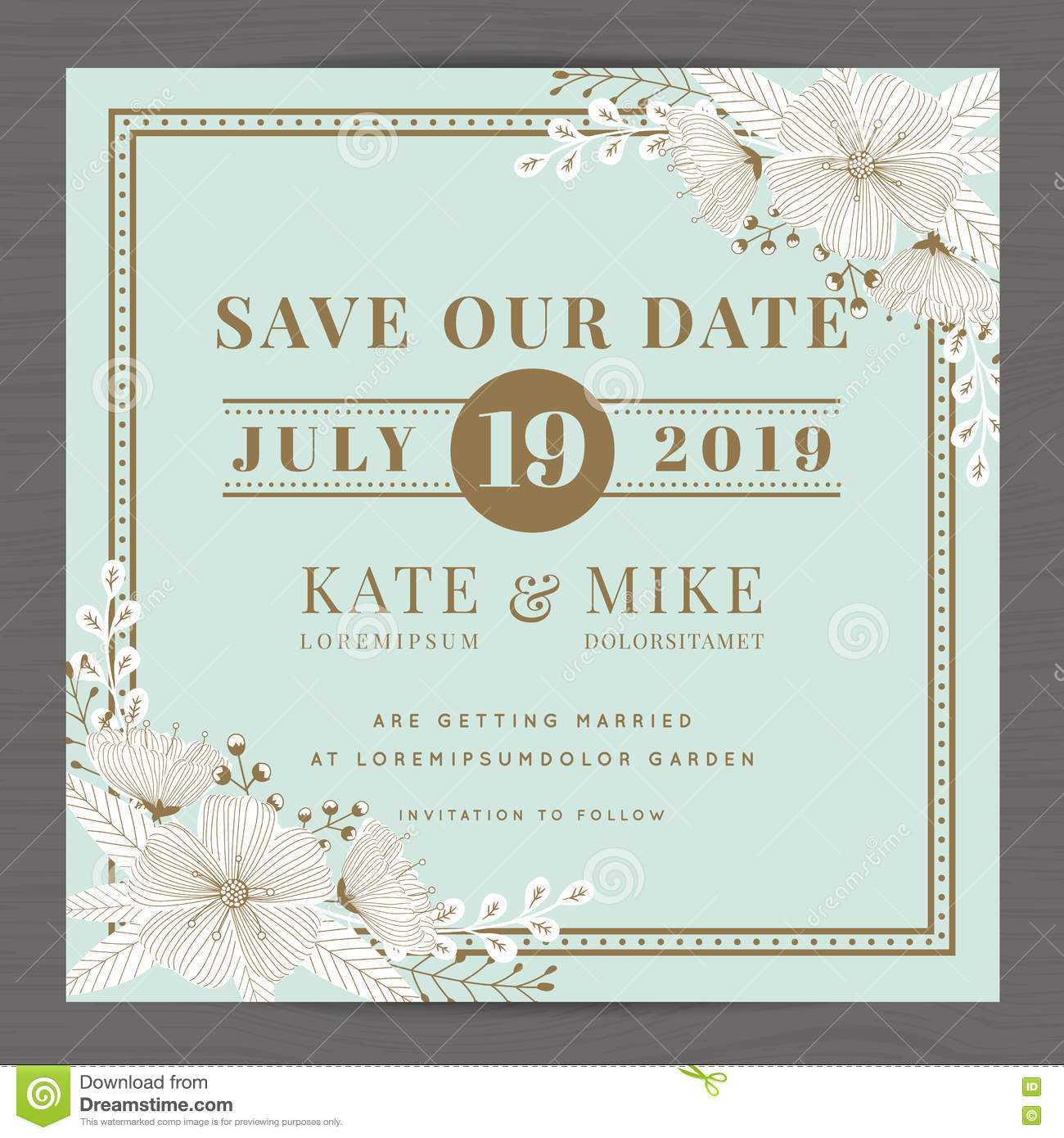Save The Date Wedding Invitation Card Template With Hand Drawn Flower Floral Background